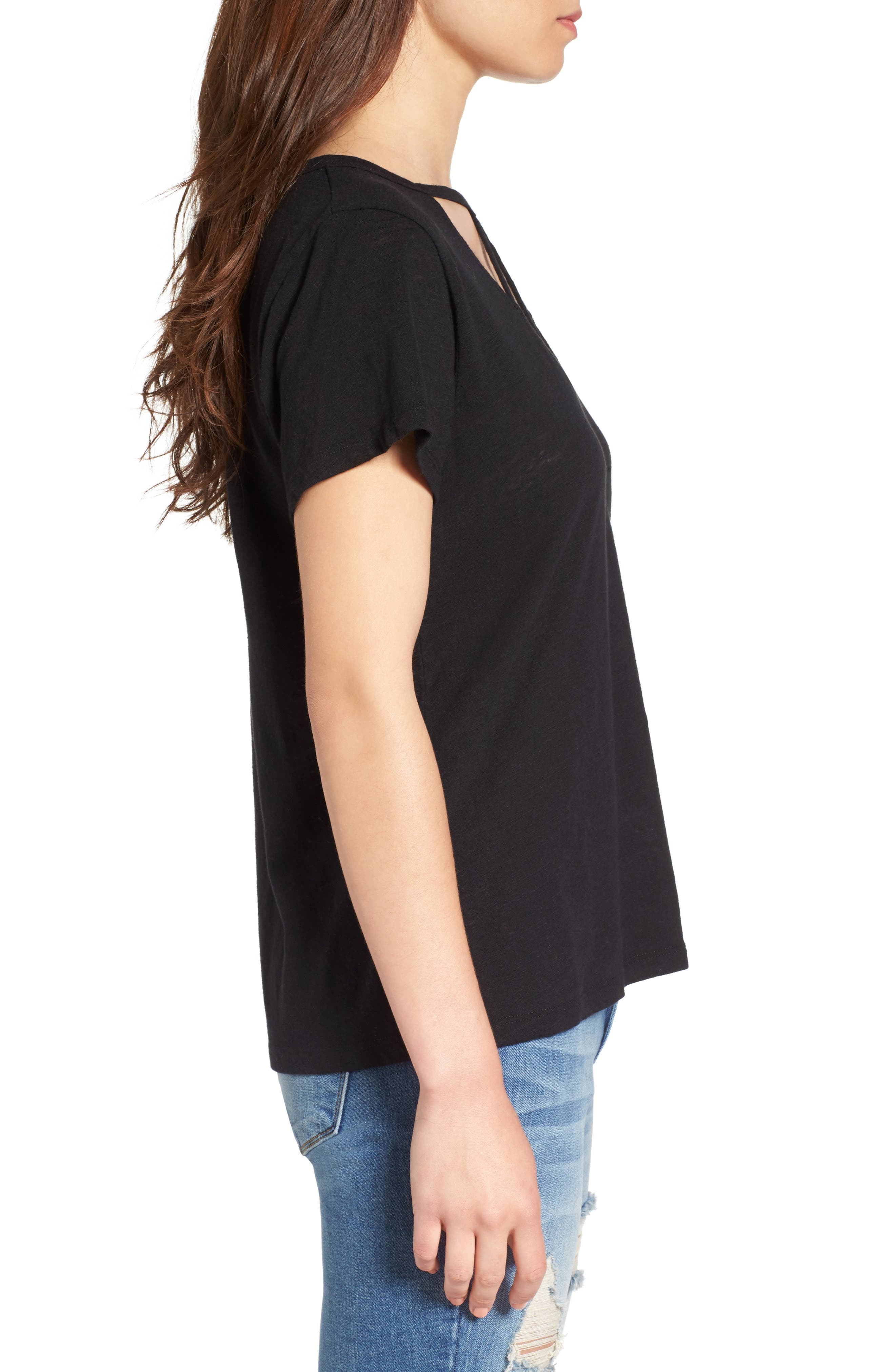 Willow Strappy Tee,                             Alternate thumbnail 3, color,                             Black