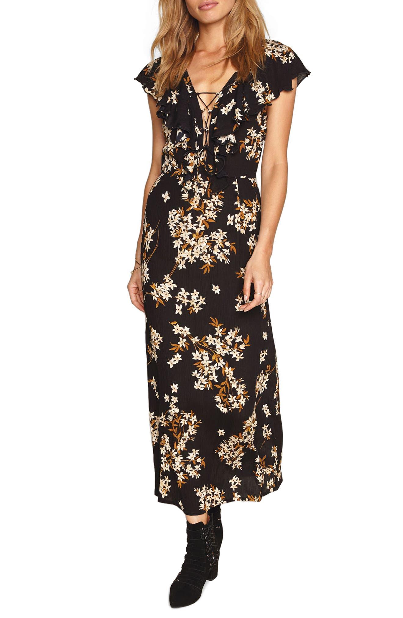 Alana Floral Lace-Up Dress,                         Main,                         color, Black Sands
