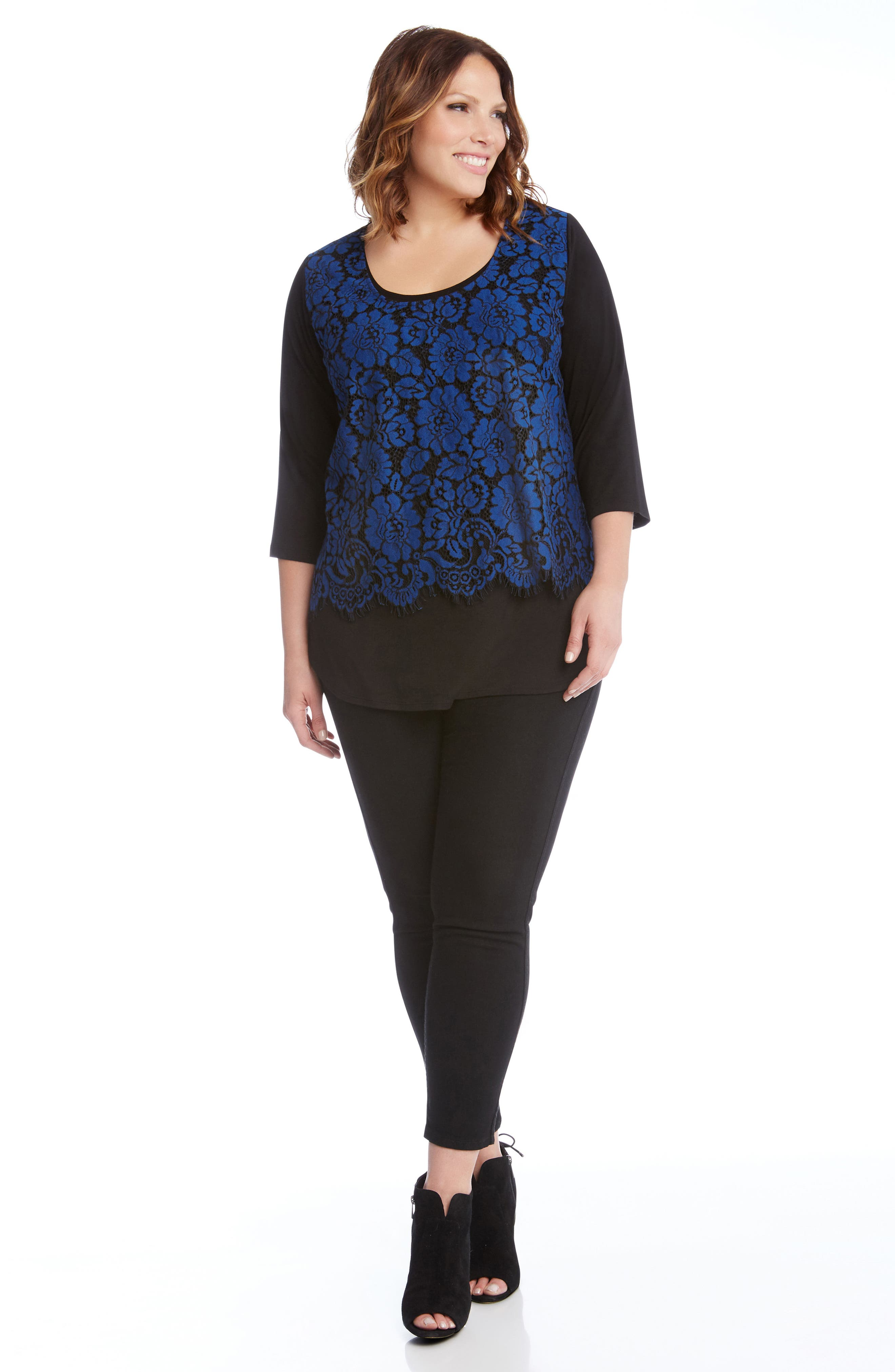 Lace Overlay Top,                             Alternate thumbnail 3, color,                             Black With Blue