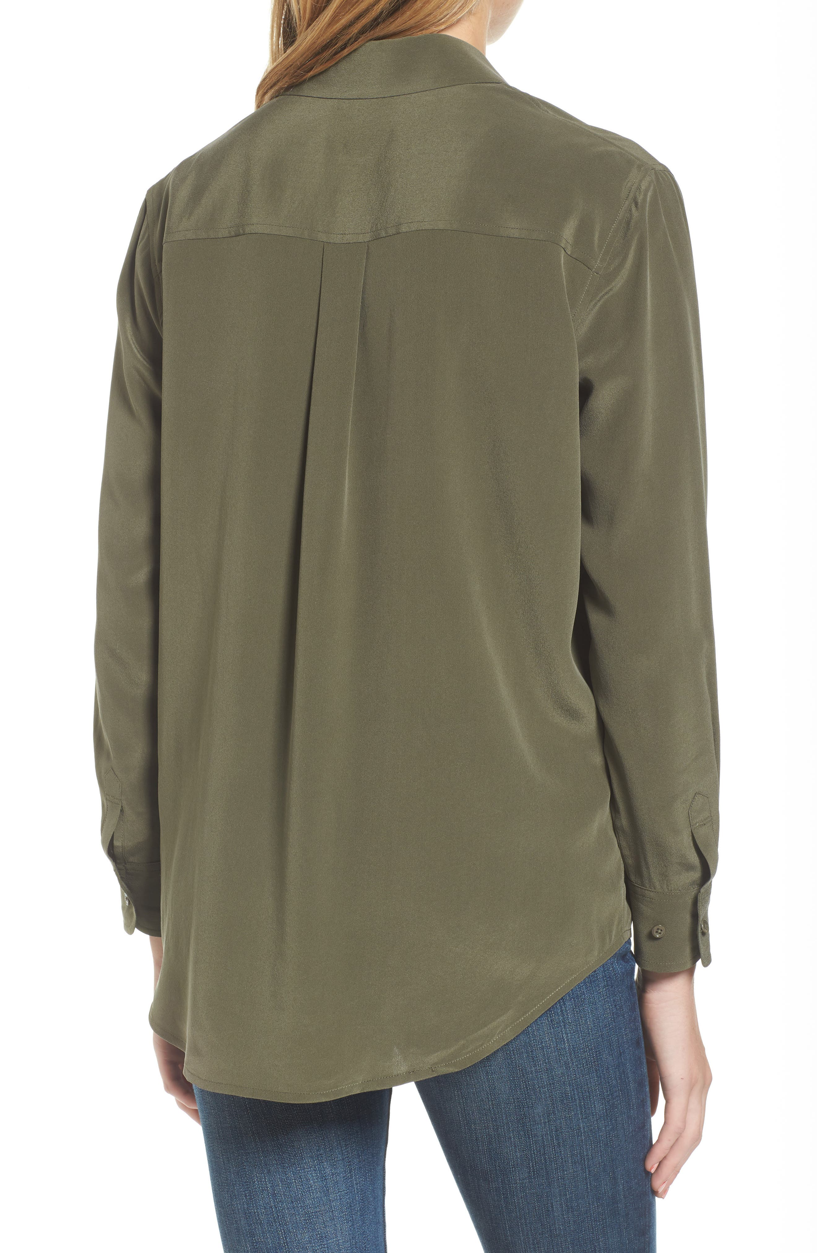 Alena Silk Shirt,                             Alternate thumbnail 2, color,                             Climbing Ivy