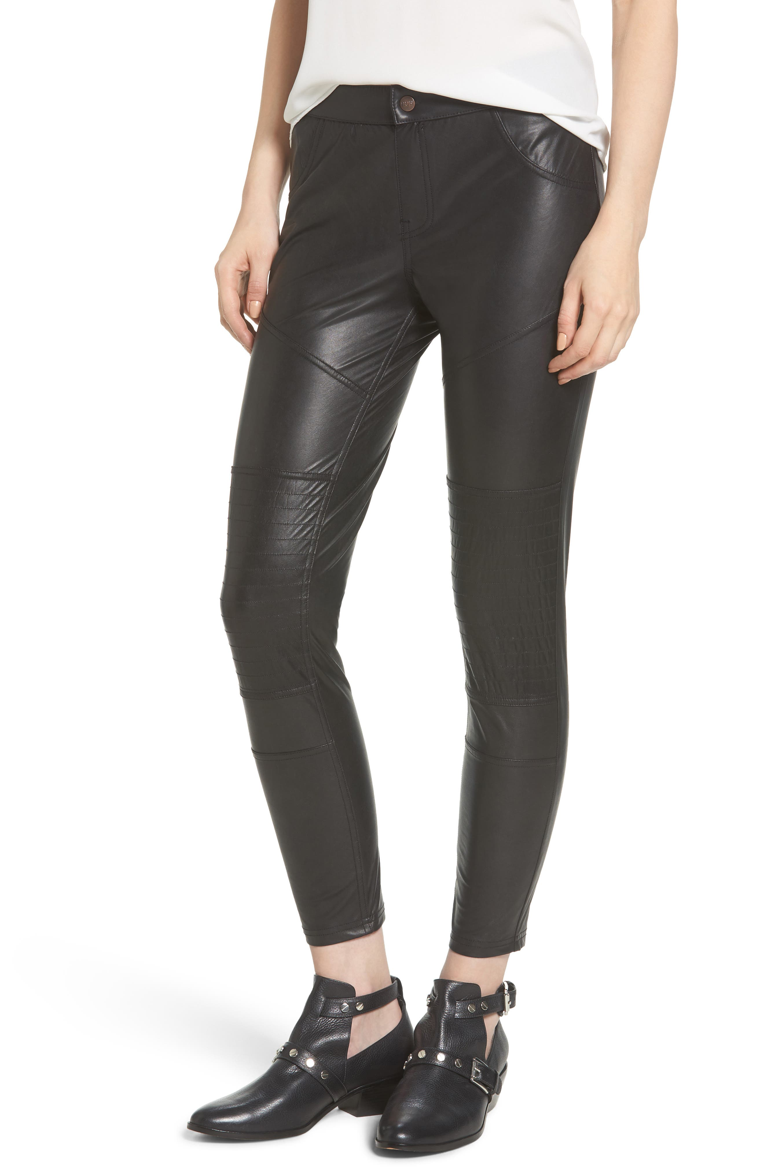 Alternate Image 1 Selected - Hue Moto Leatherette Skimmer Leggings