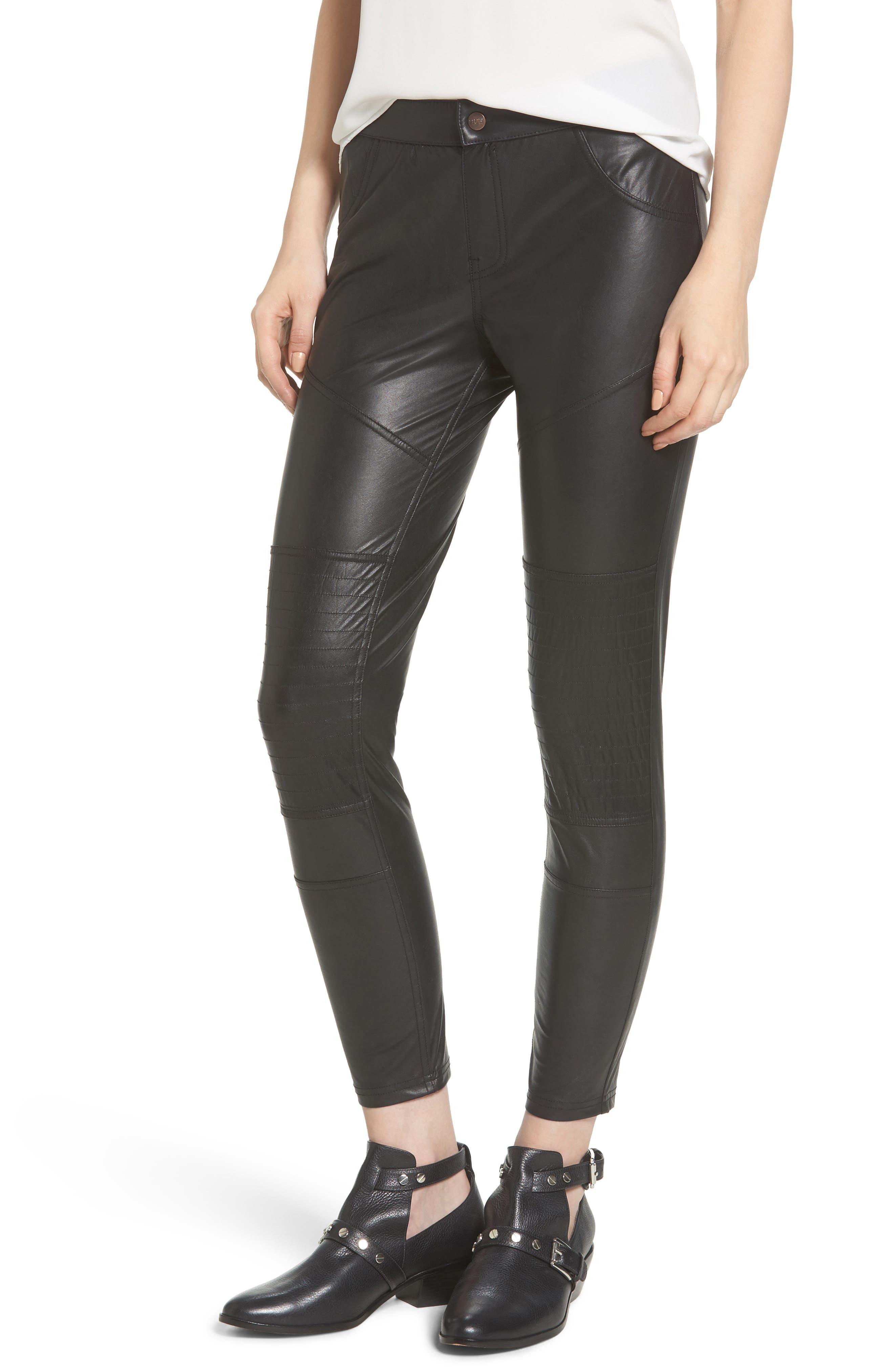 Moto Leatherette Skimmer Leggings,                         Main,                         color, Black