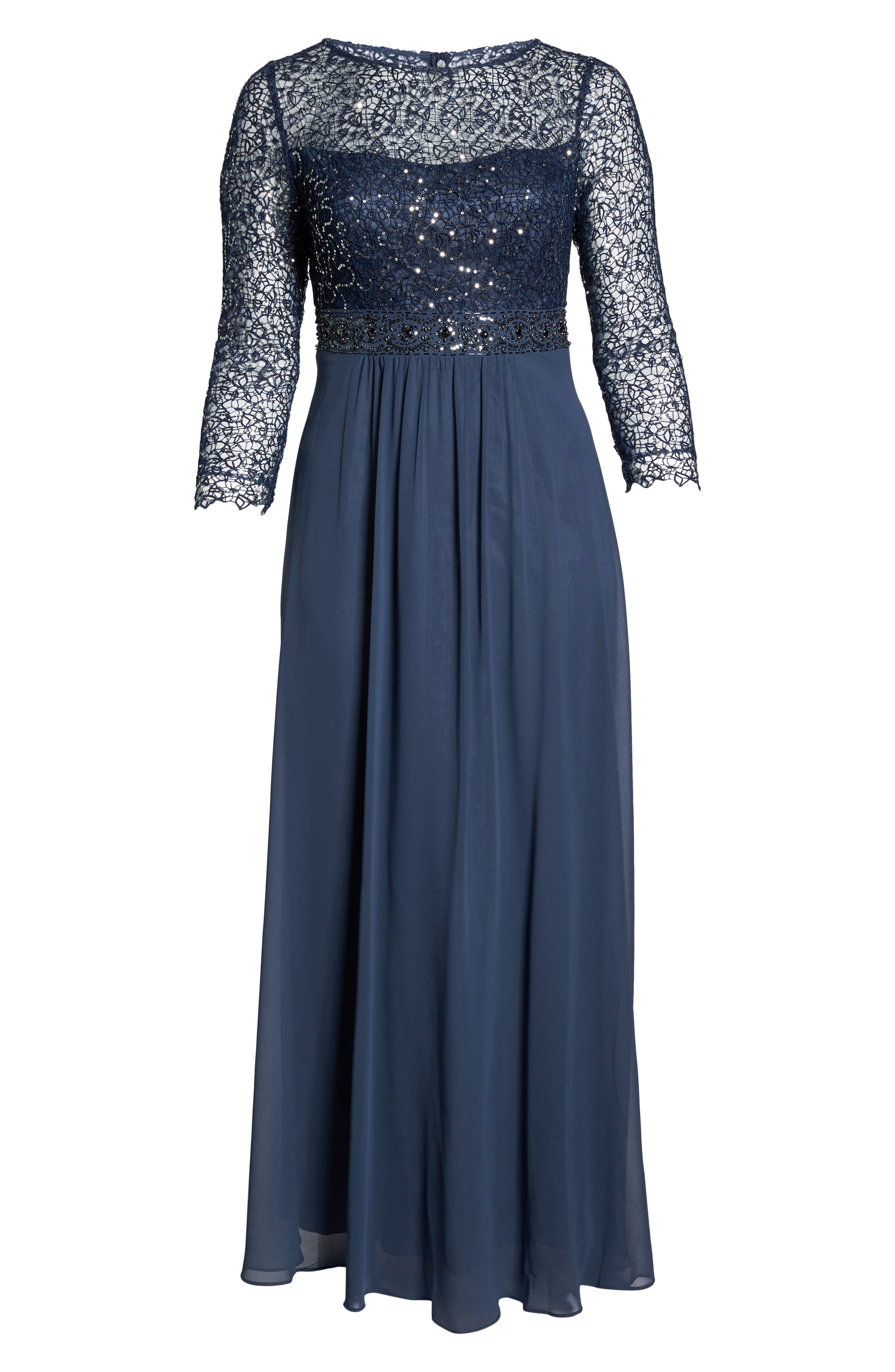 Embellished A-Line Chiffon Gown,                             Alternate thumbnail 6, color,                             Steel