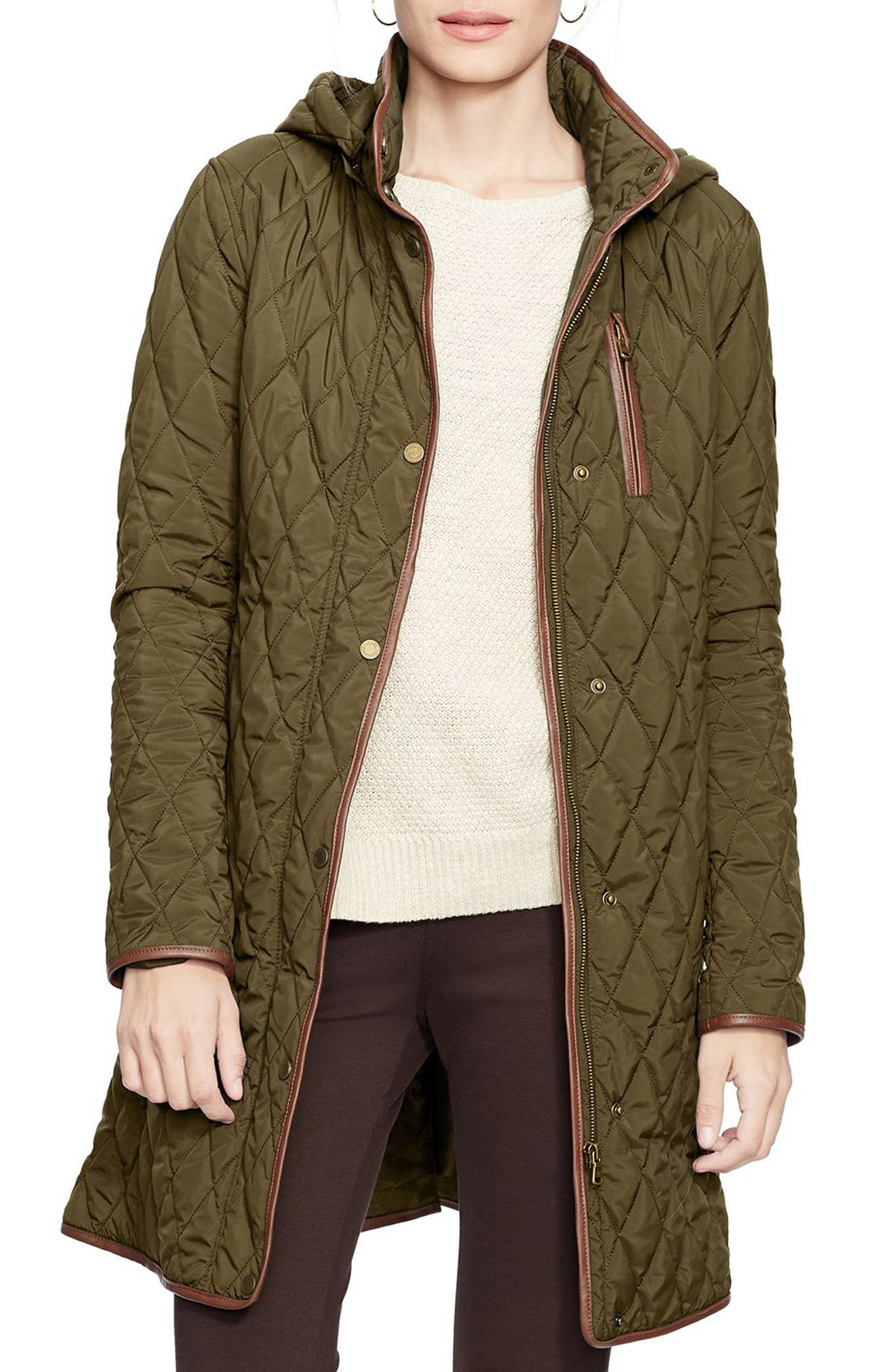 Alternate Image 1 Selected - Lauren Ralph Lauren Faux Leather Trim Quilted Coat