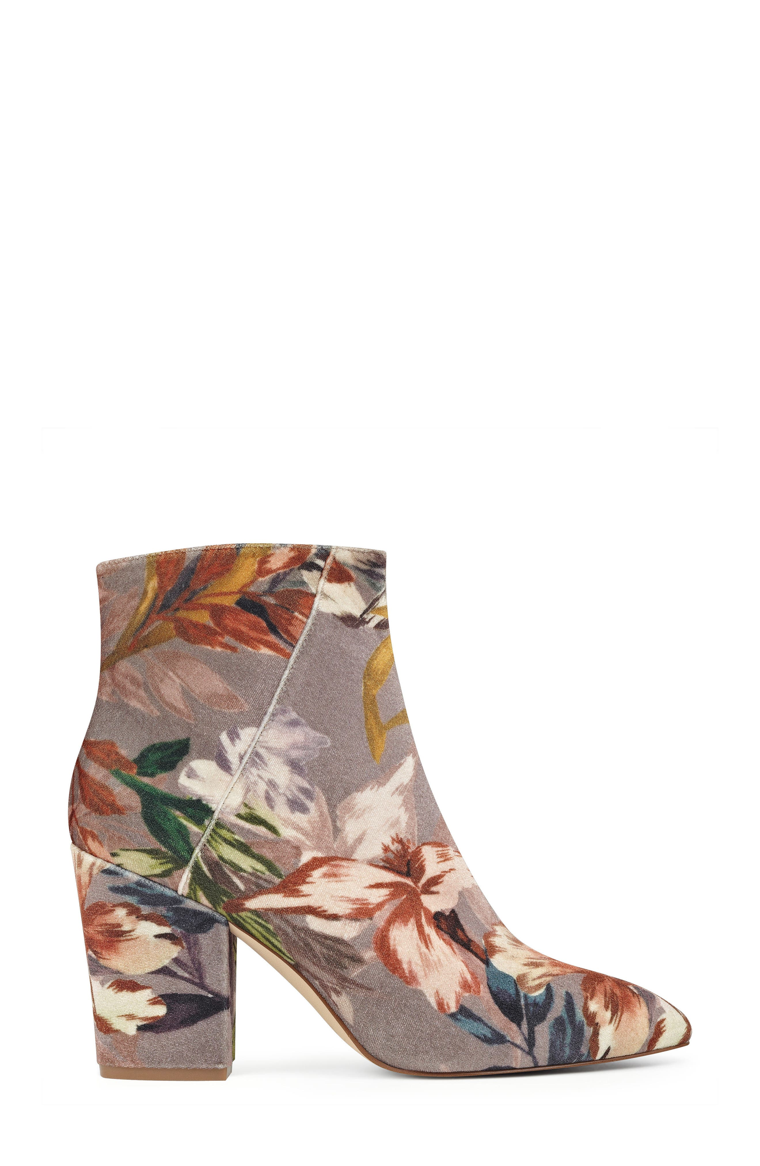 Savitra Pointy Toe Bootie,                             Alternate thumbnail 3, color,                             Taupe Multi Fabric