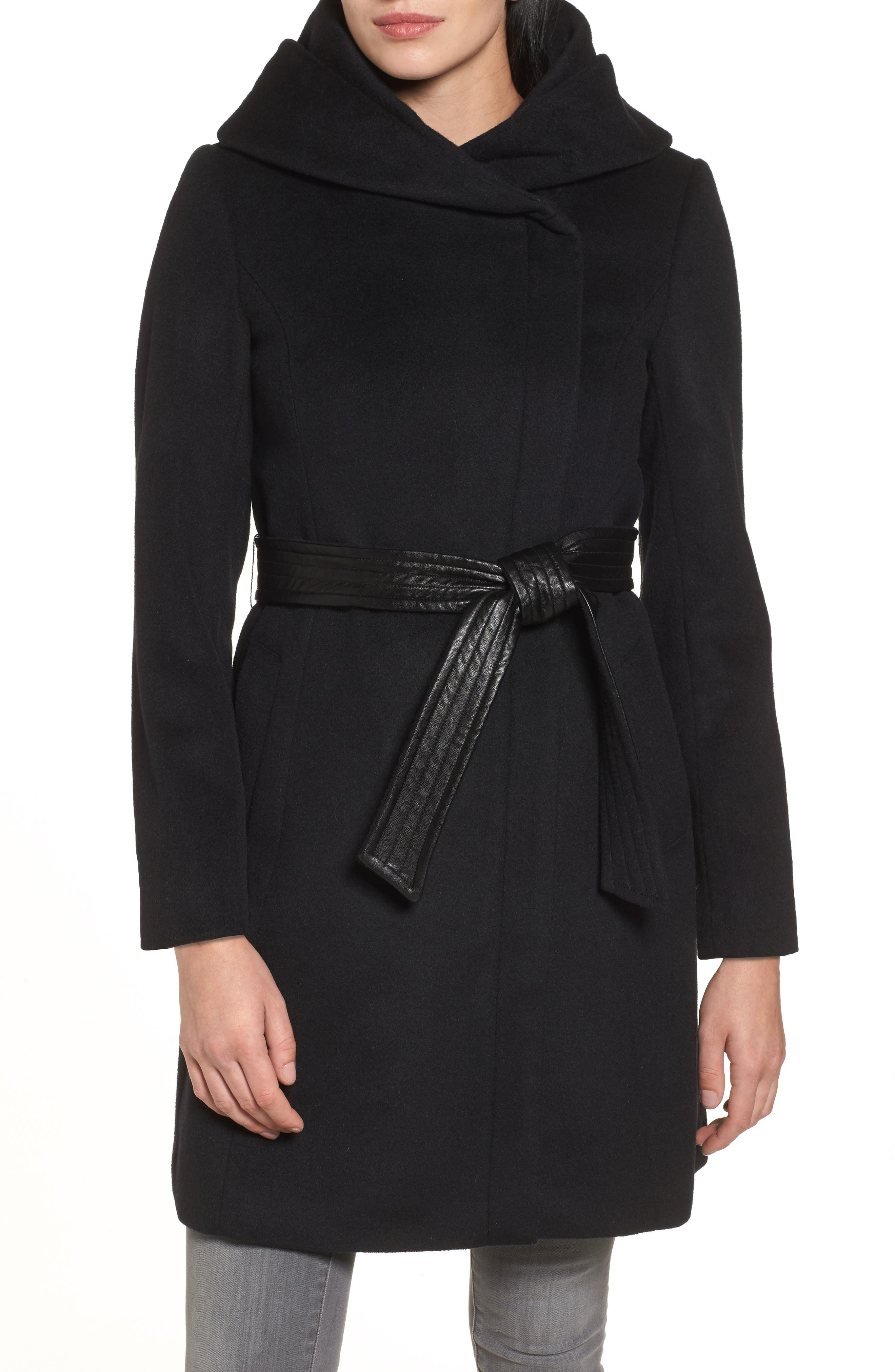 Cole Haan Belted Asymmetrical Wool Coat,                         Main,                         color, Black