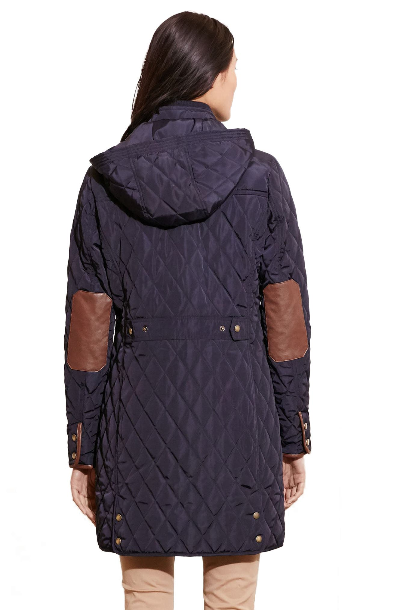 Diamond Quilted Coat with Faux Leather Trim,                             Alternate thumbnail 3, color,                             Dark Navy