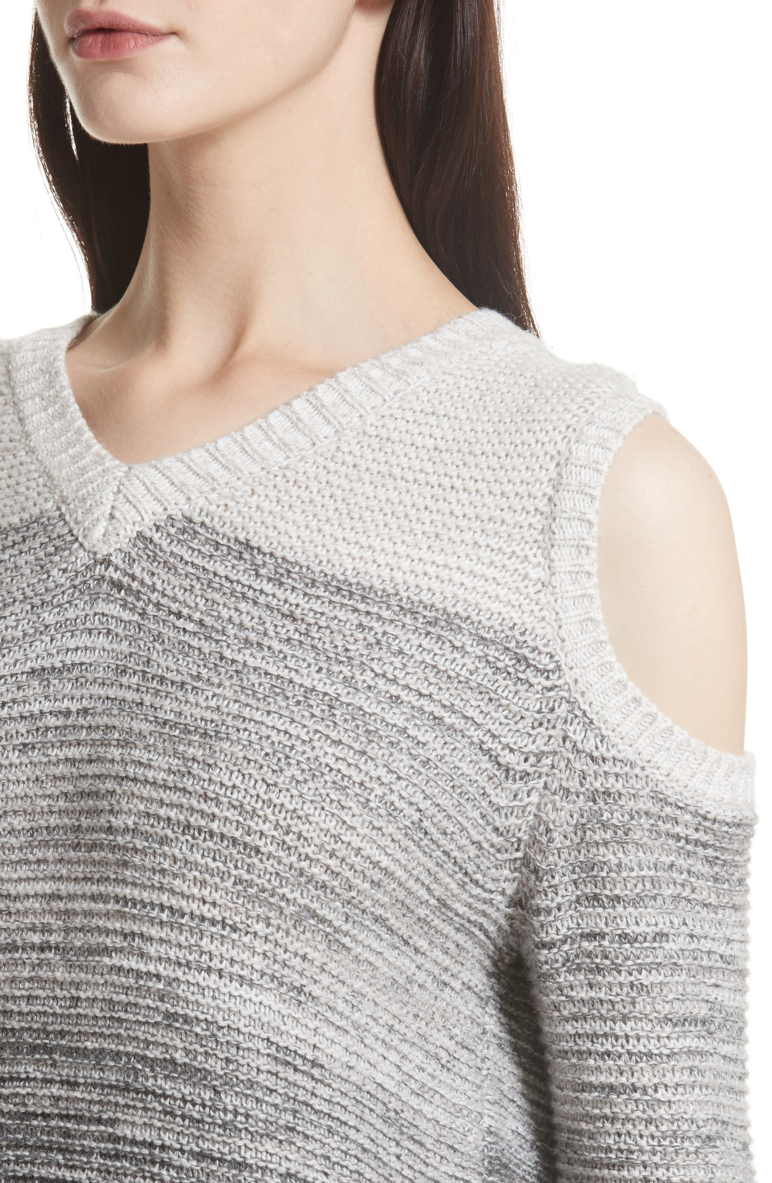 Page Cold Shoulder Sweater,                             Alternate thumbnail 4, color,                             Grey Ombre