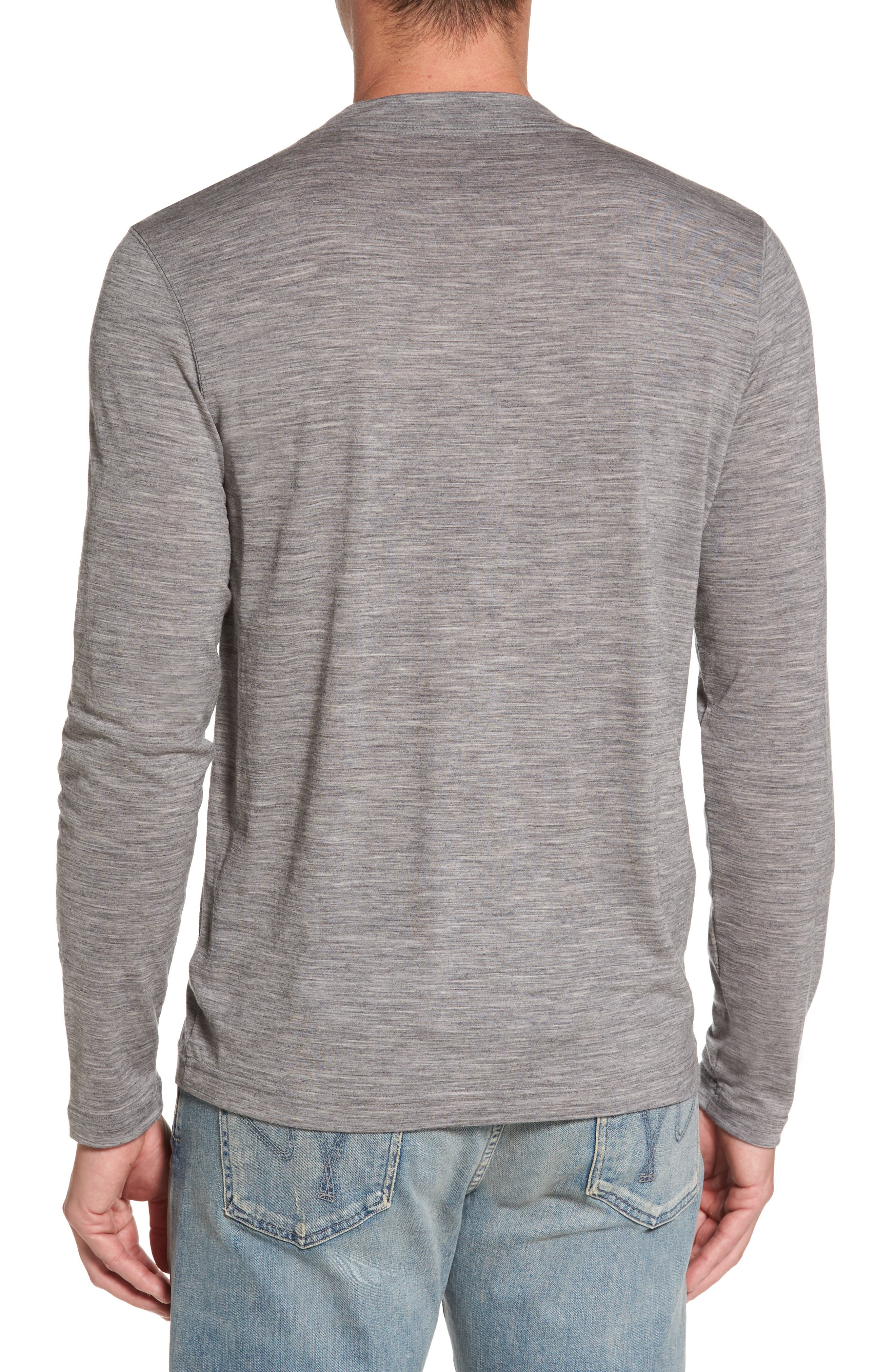 Odyssey Merino Wool Blend Henley,                             Alternate thumbnail 2, color,                             Stone Grey Heather
