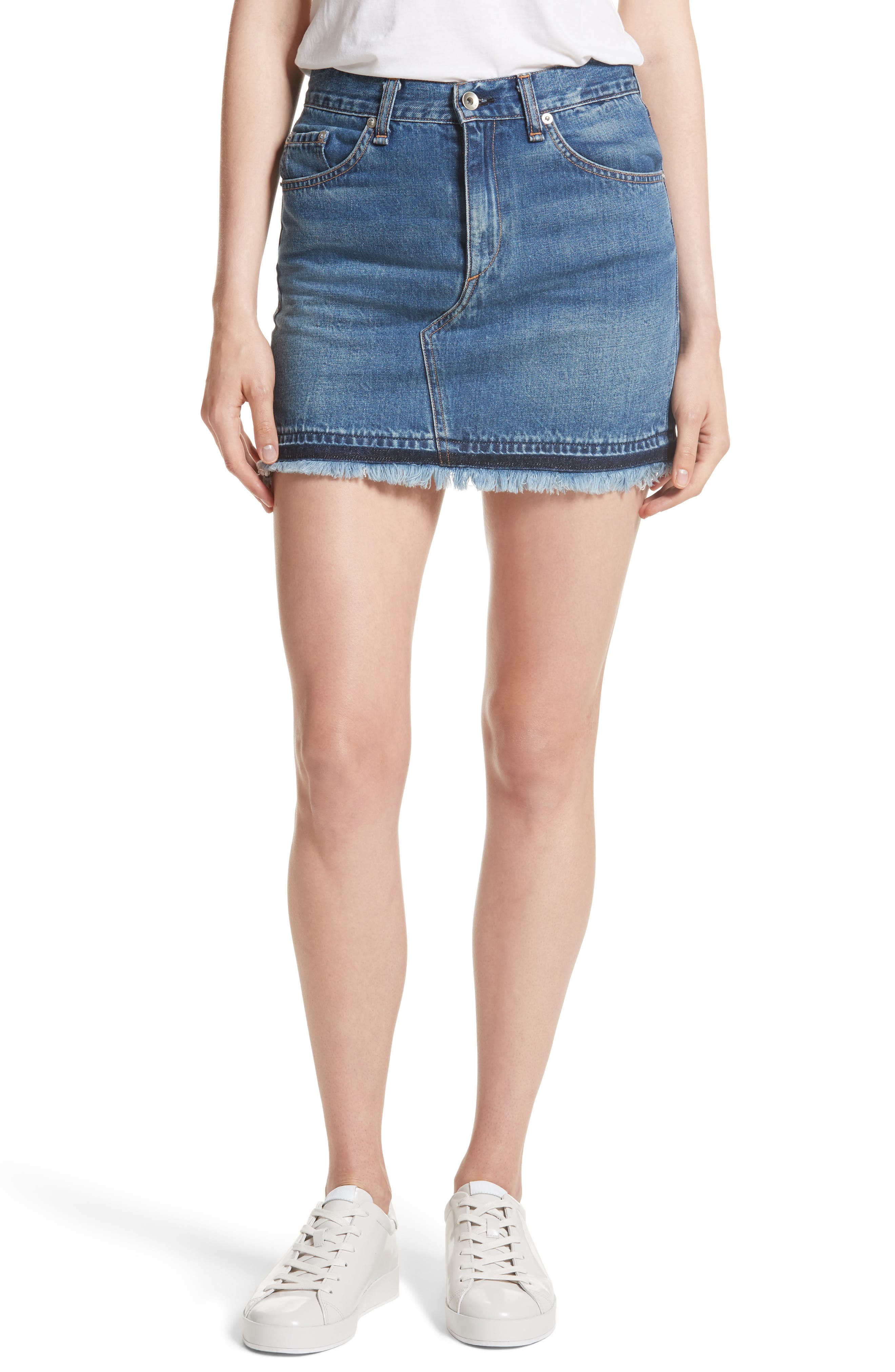 Dive Denim Skirt,                         Main,                         color, Fringed