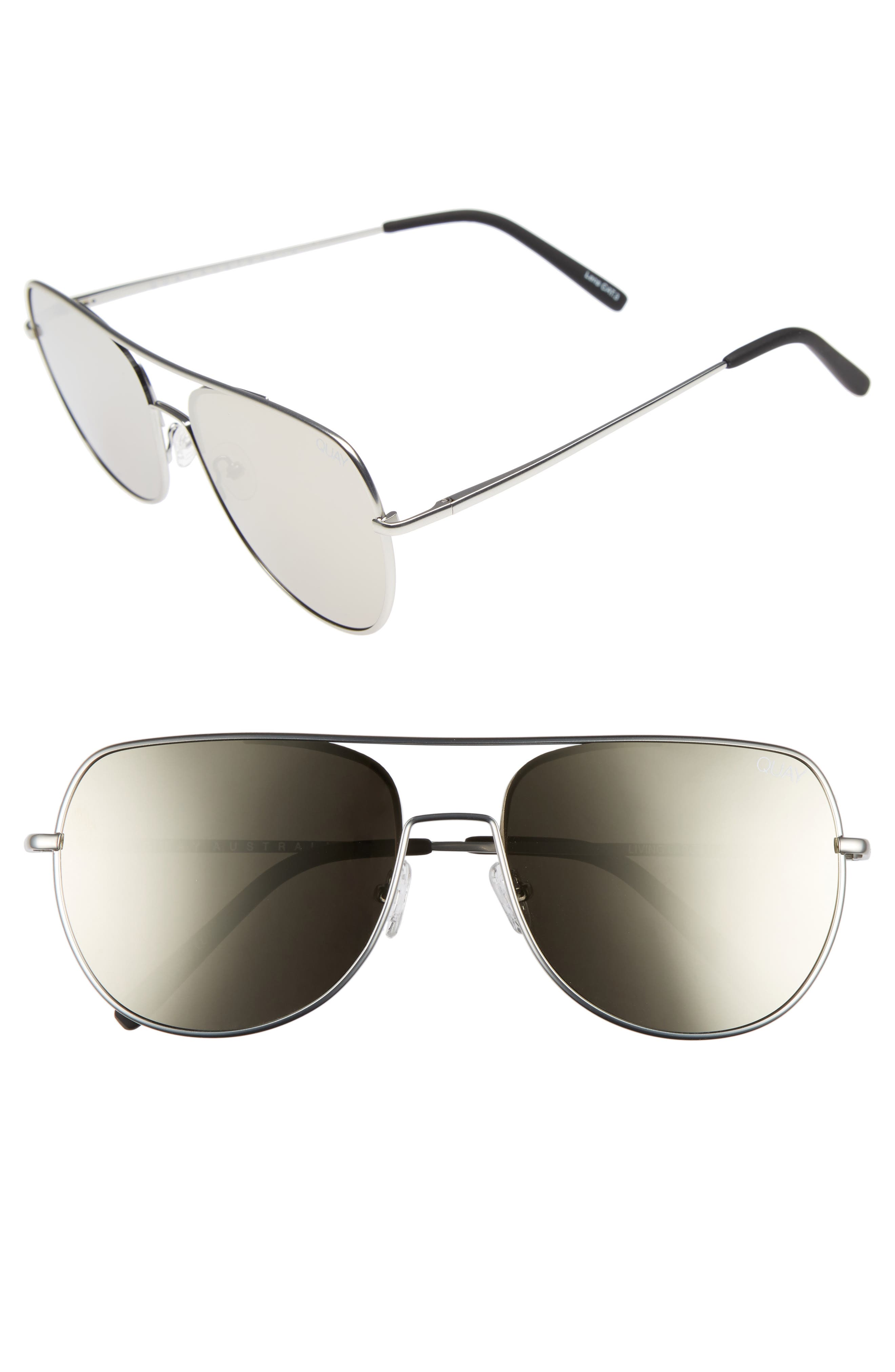 Living Large 61mm Aviator Sunglasses,                             Main thumbnail 1, color,                             Silver/ Silver