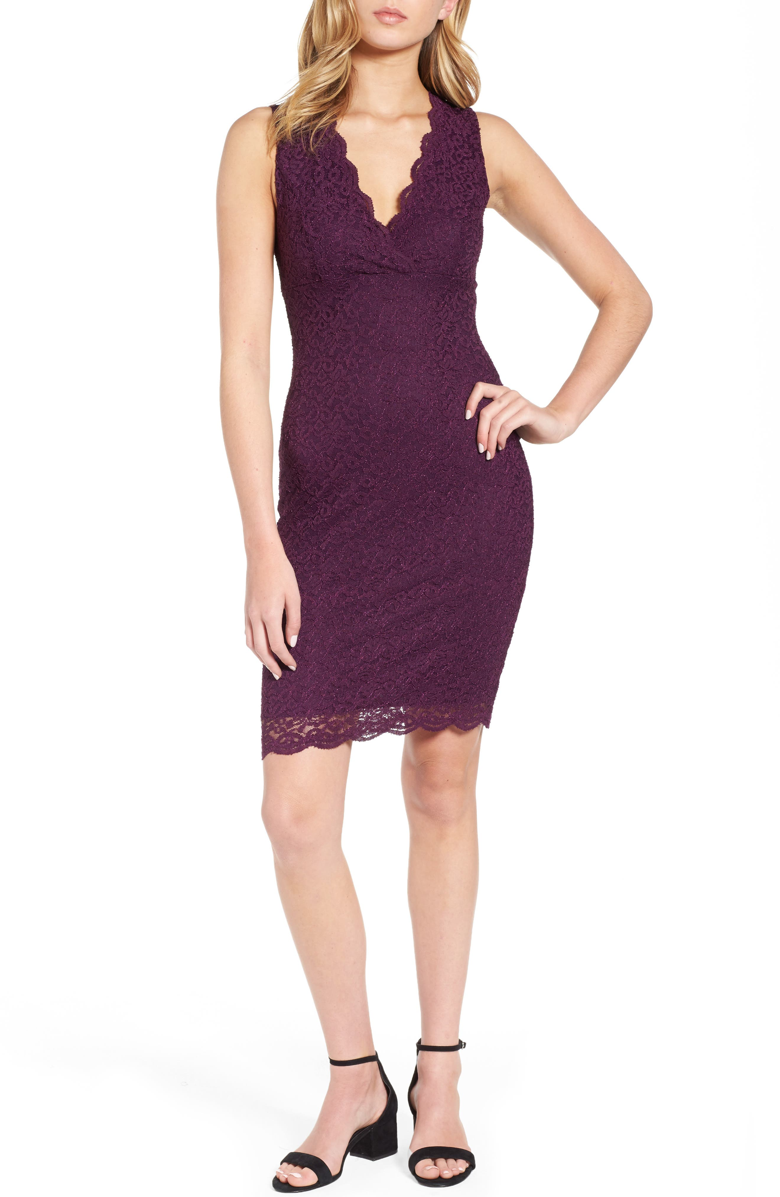Lace Body Con Dress,                         Main,                         color, Purple