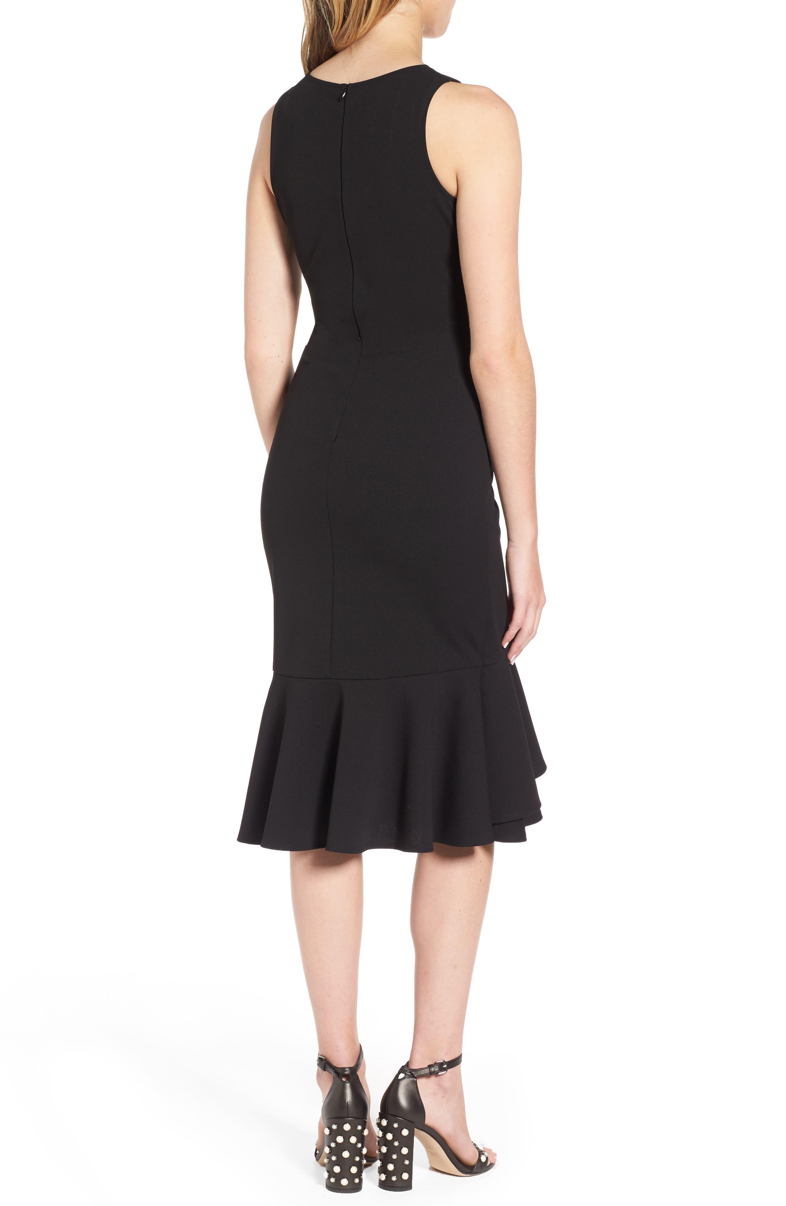 Ruffle Hem Dress,                             Alternate thumbnail 2, color,                             Black