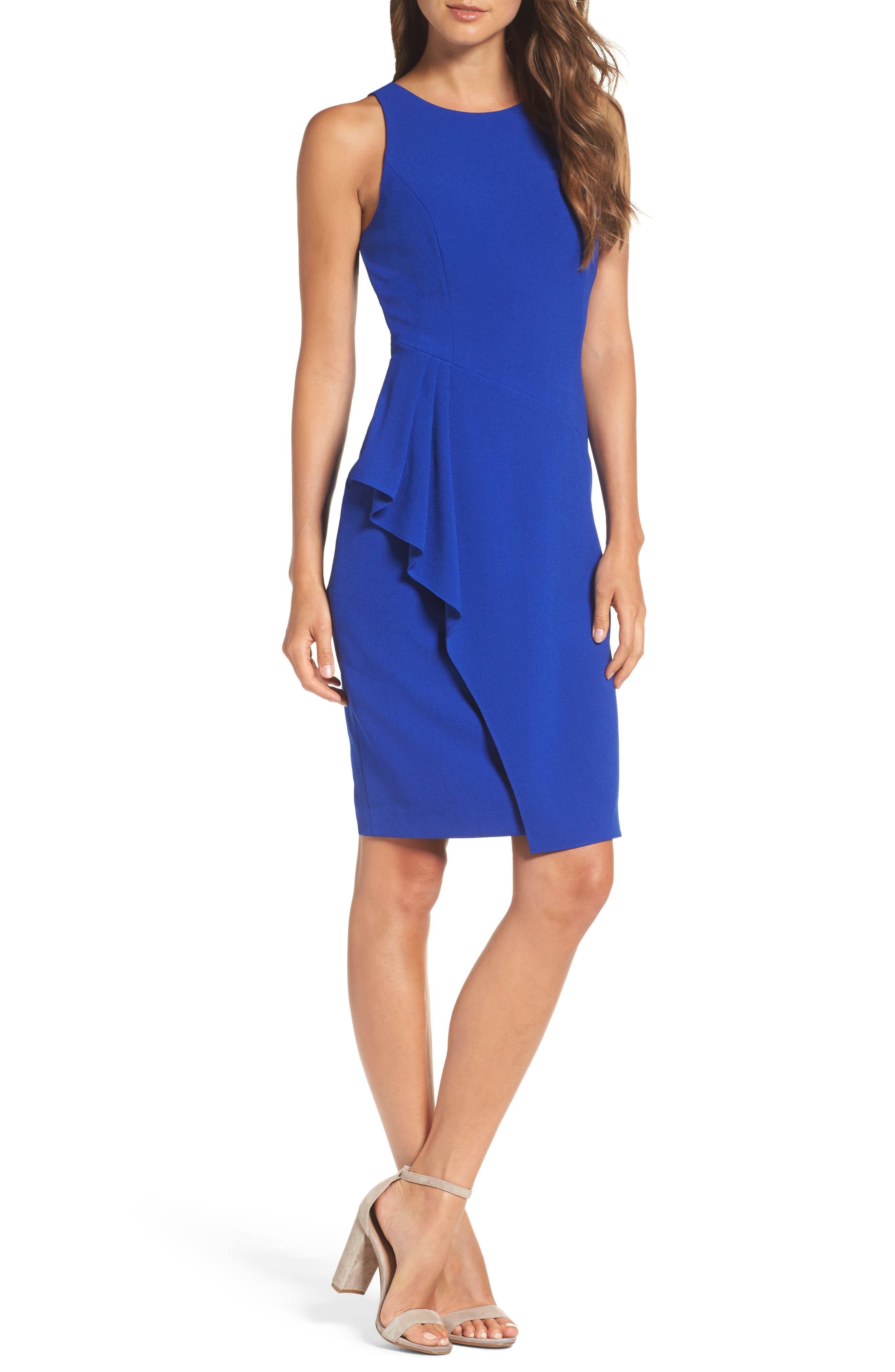 Sleeveless Crepe Sheath Dress,                         Main,                         color, Royal
