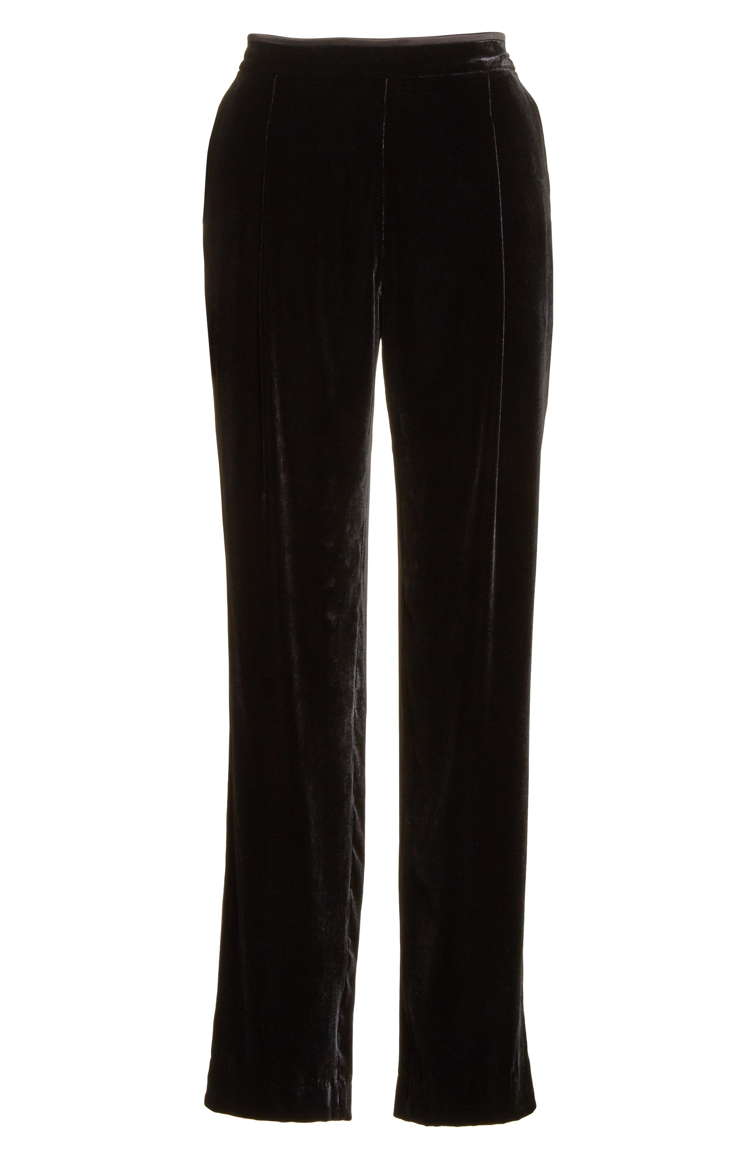 Soho Velvet Track Pants,                             Alternate thumbnail 6, color,                             Black