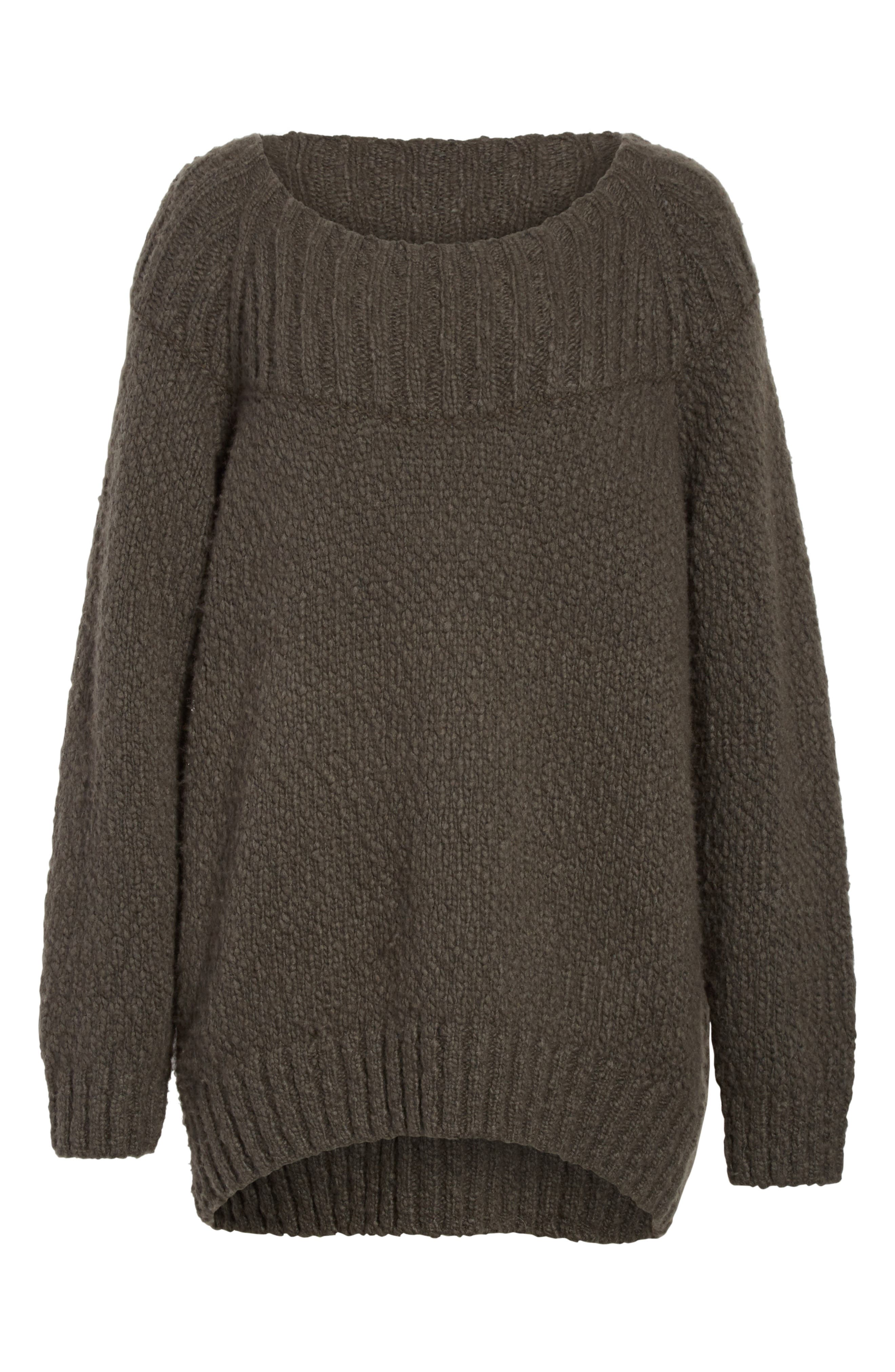 Ribbed Yoke Knit Sweater,                             Alternate thumbnail 6, color,                             Graphite