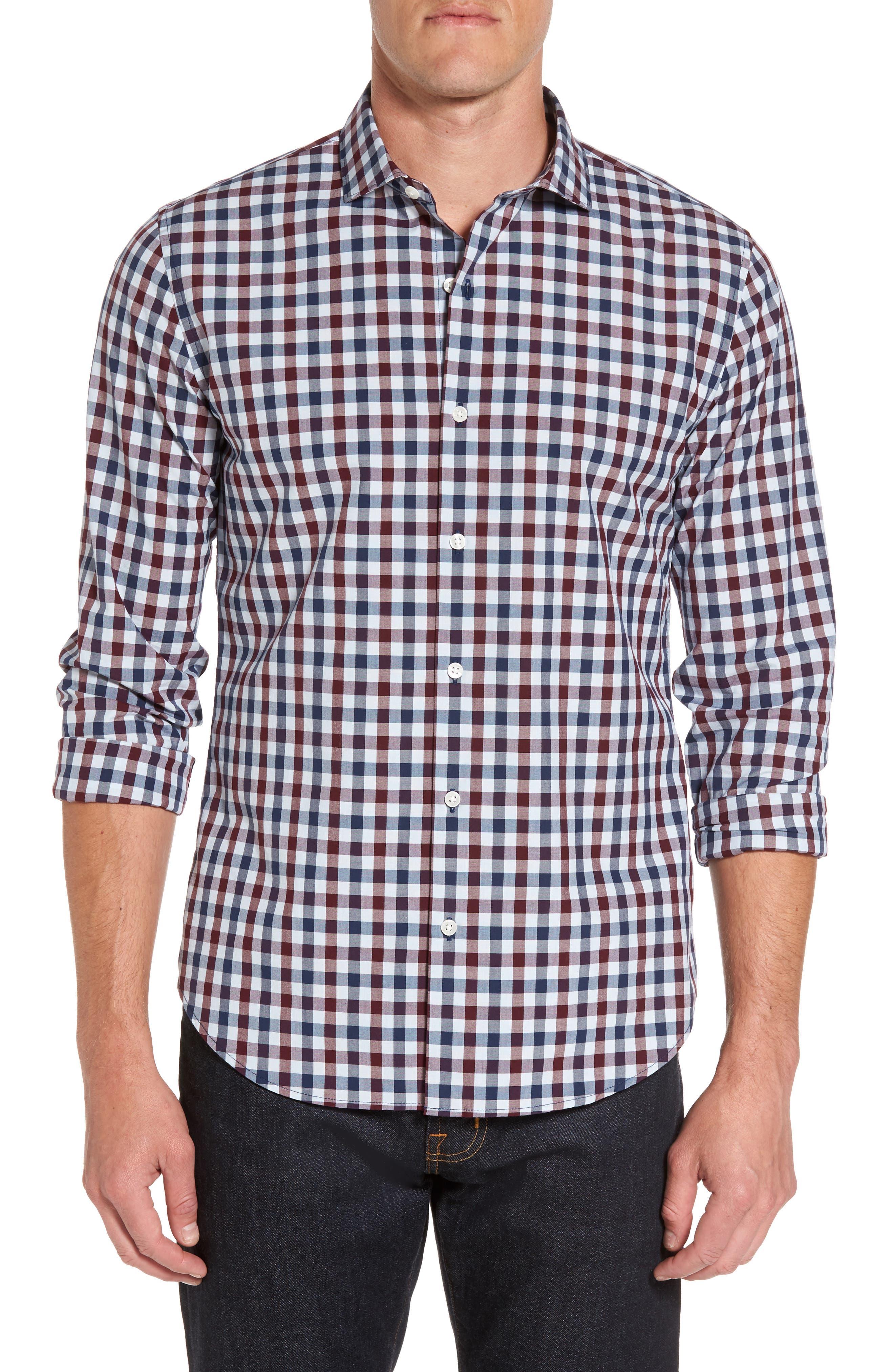 Unbutton Down Slim Fit Check Sport Shirt,                         Main,                         color, Blue Red Gingham