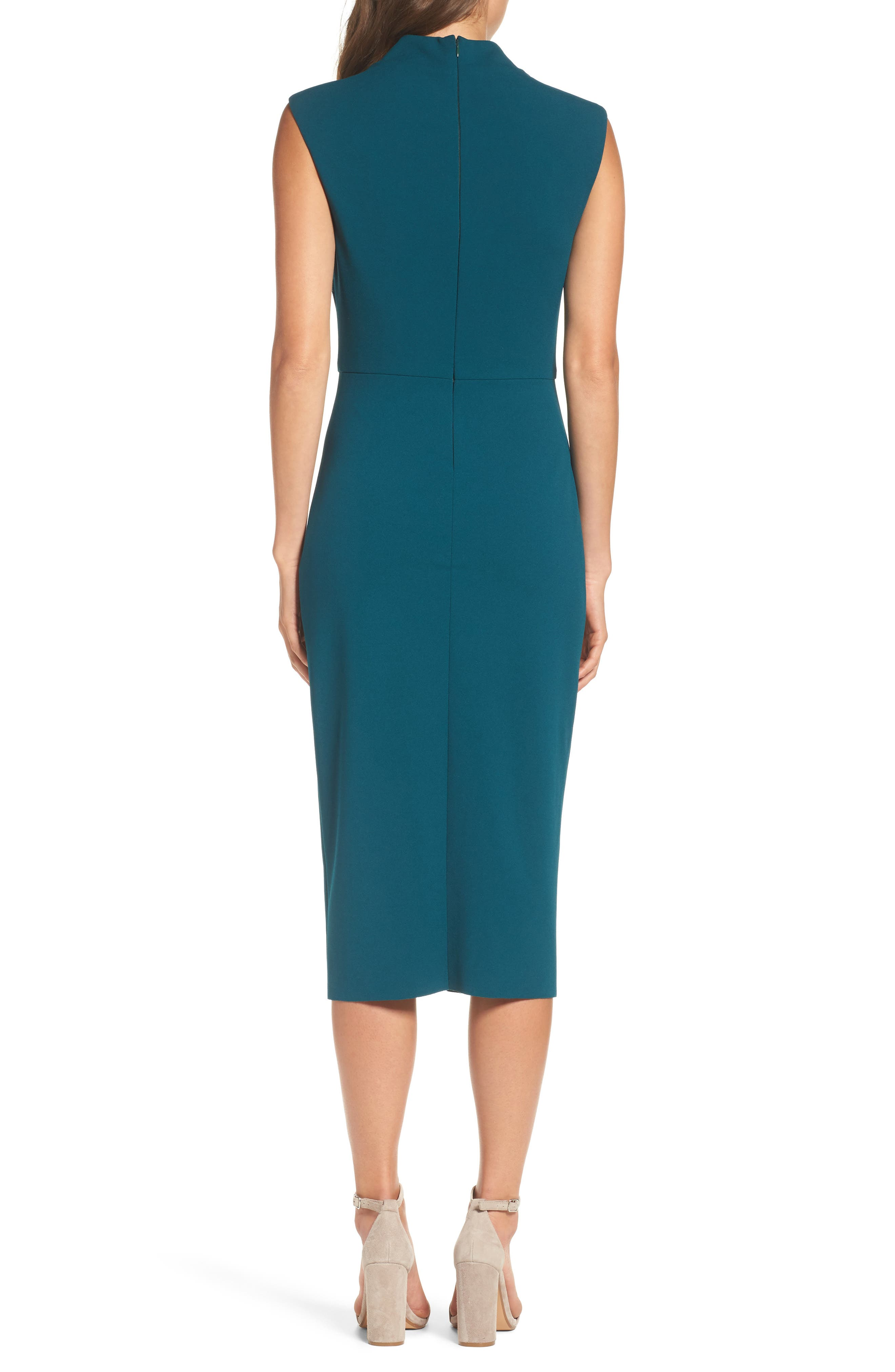 Crepe Midi Dress,                             Alternate thumbnail 3, color,                             Pine