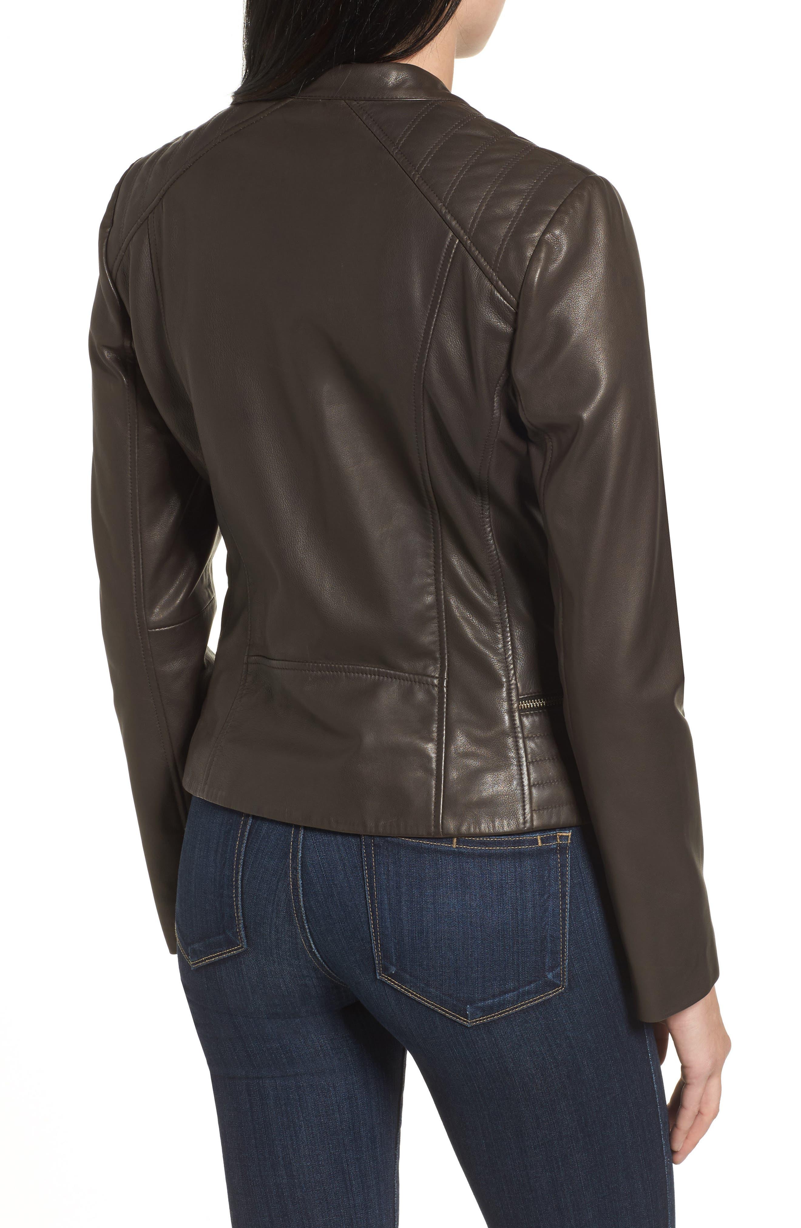 Leather Moto Jacket,                             Alternate thumbnail 2, color,                             Smoke