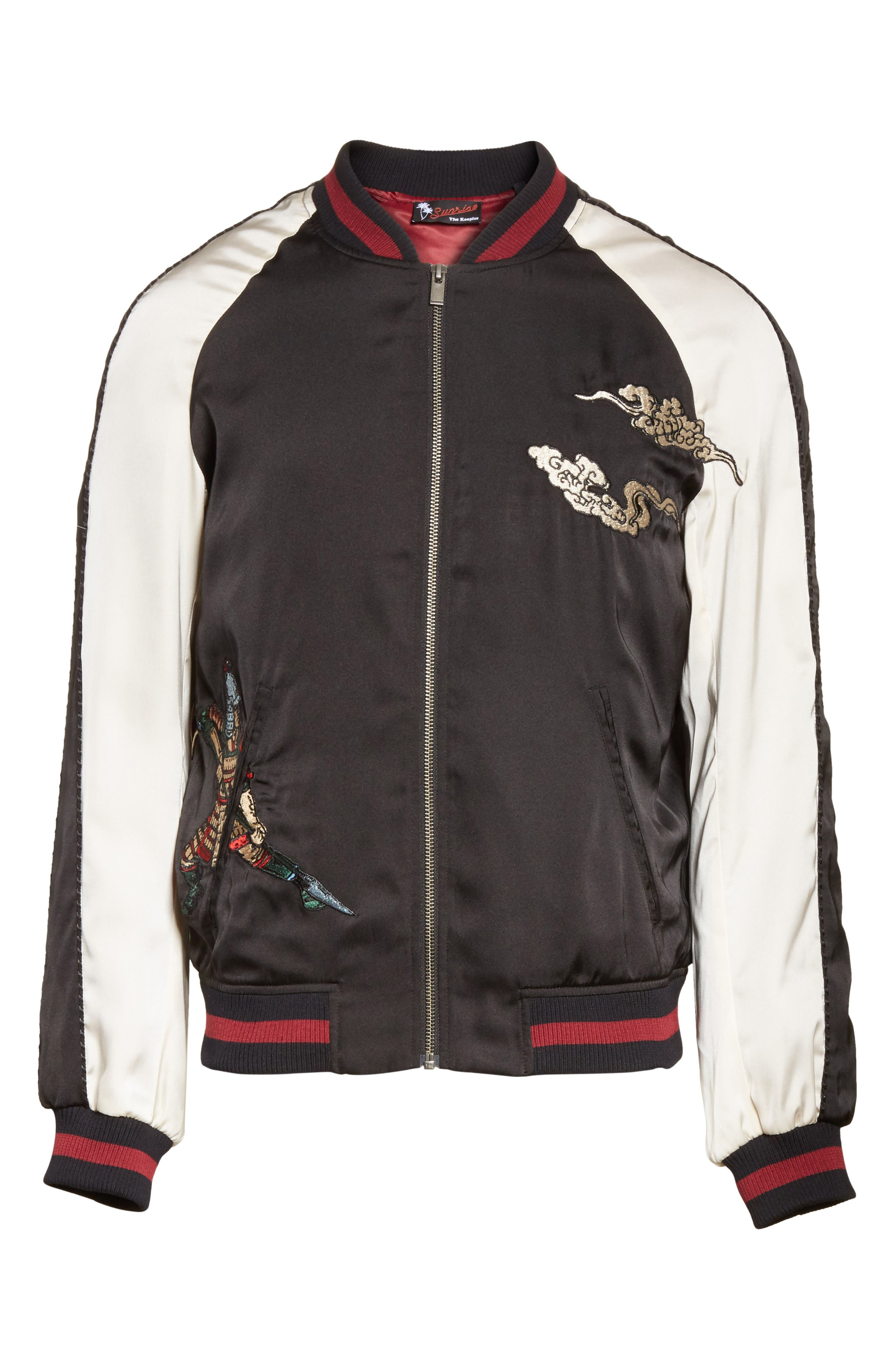 Alternate Image 6  - The Kooples Embroidered Two-Tone Bomber Jacket