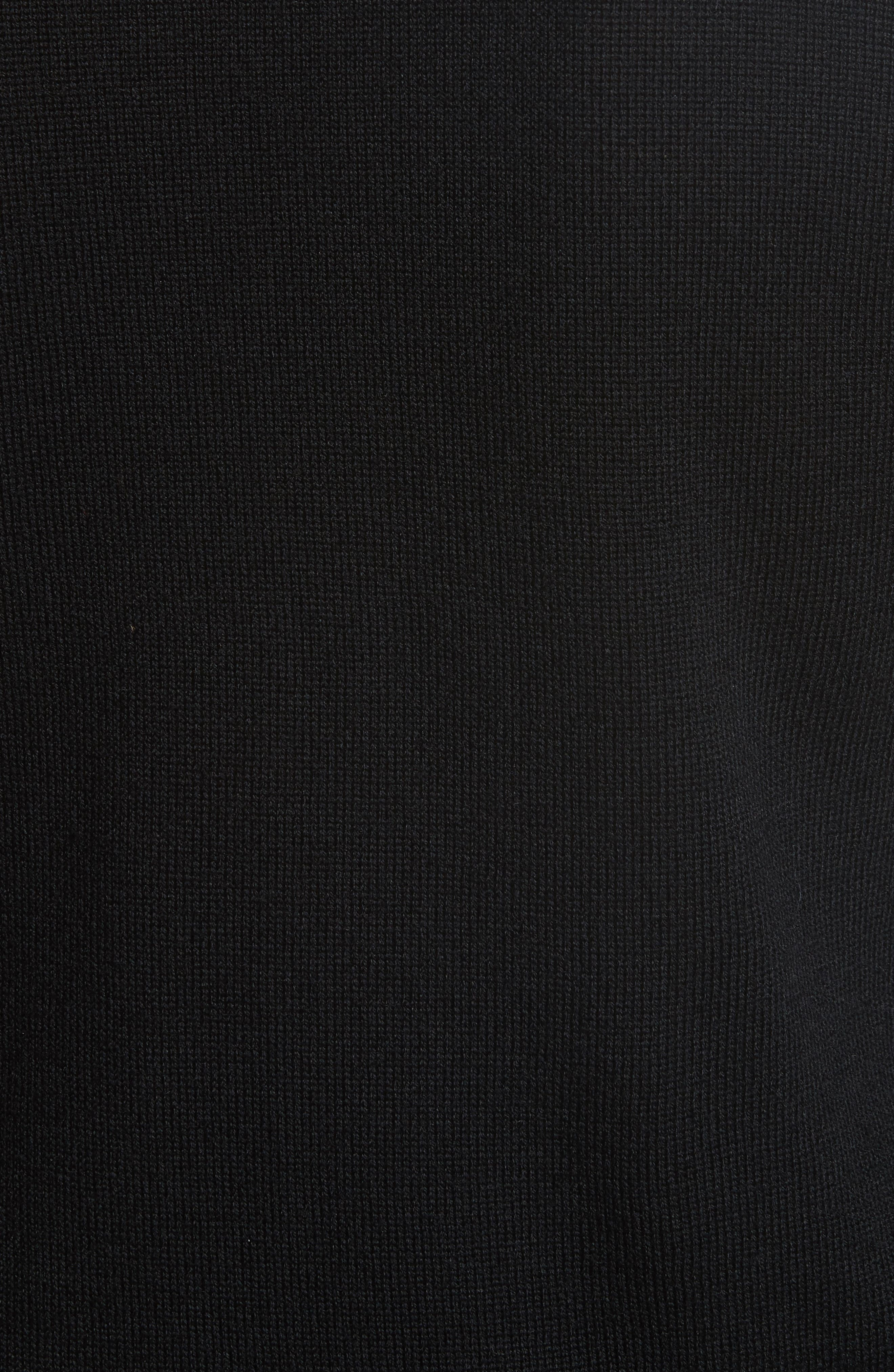 Robin Frill Wool Sweater,                             Alternate thumbnail 5, color,                             Black