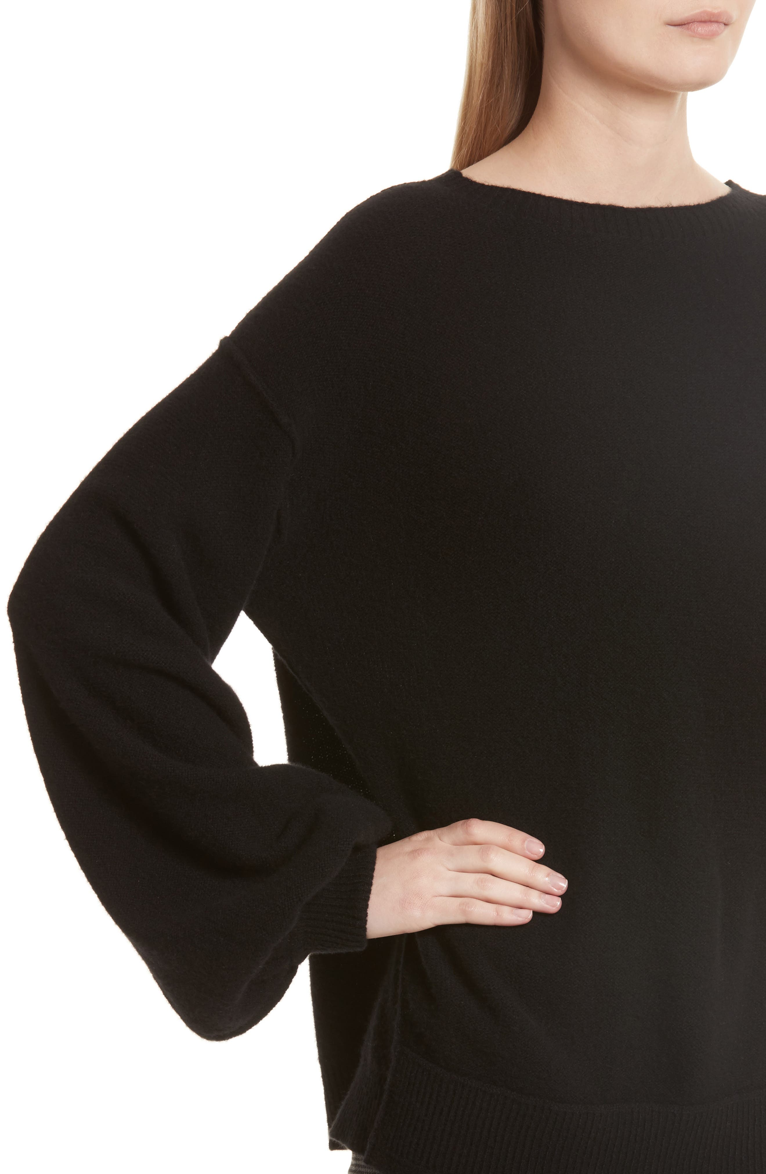 Balloon Sleeve Wool & Cashmere Sweater,                             Alternate thumbnail 5, color,                             Black