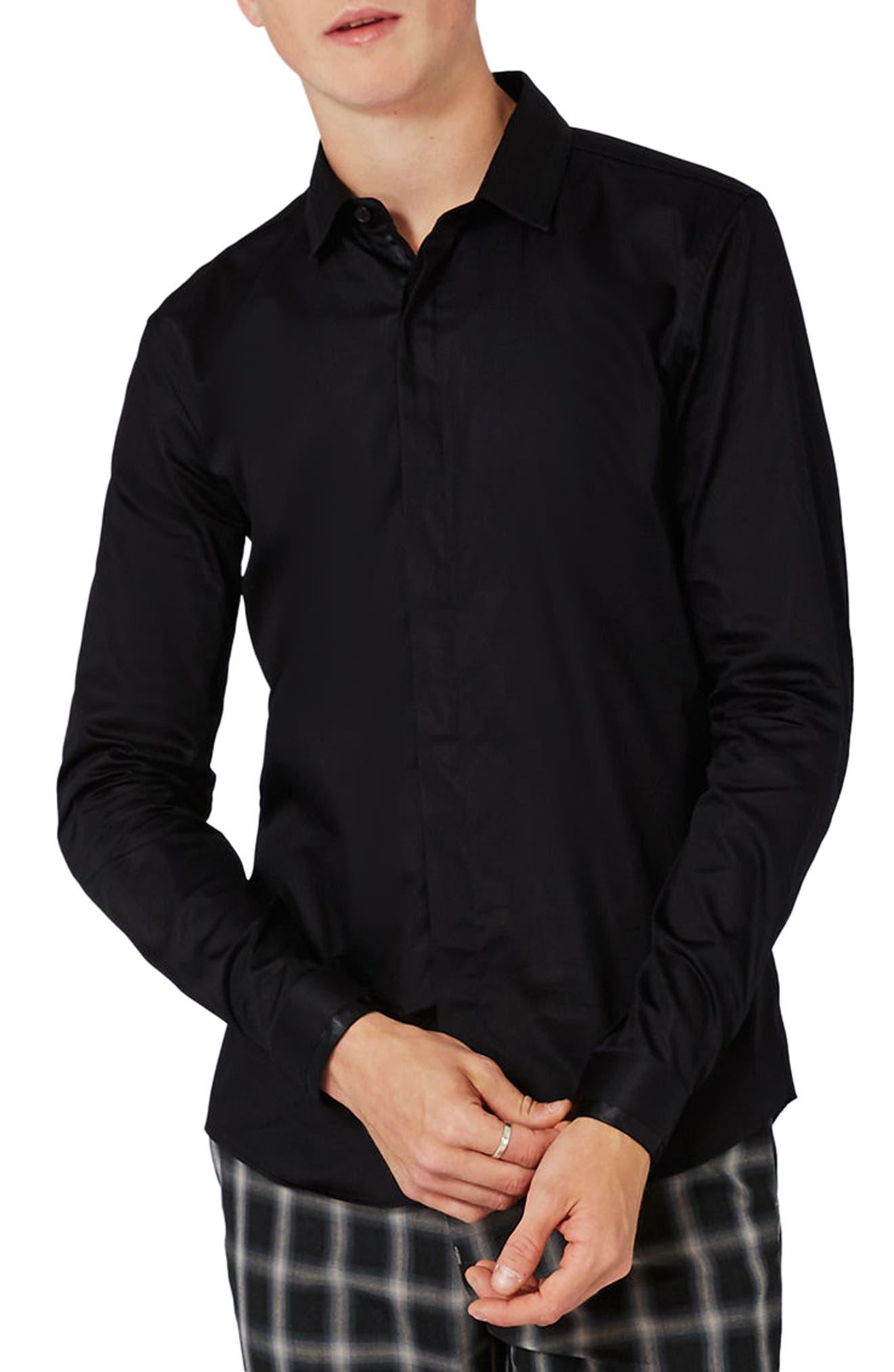 Alternate Image 2  - Topman Satin Trim Woven Shirt