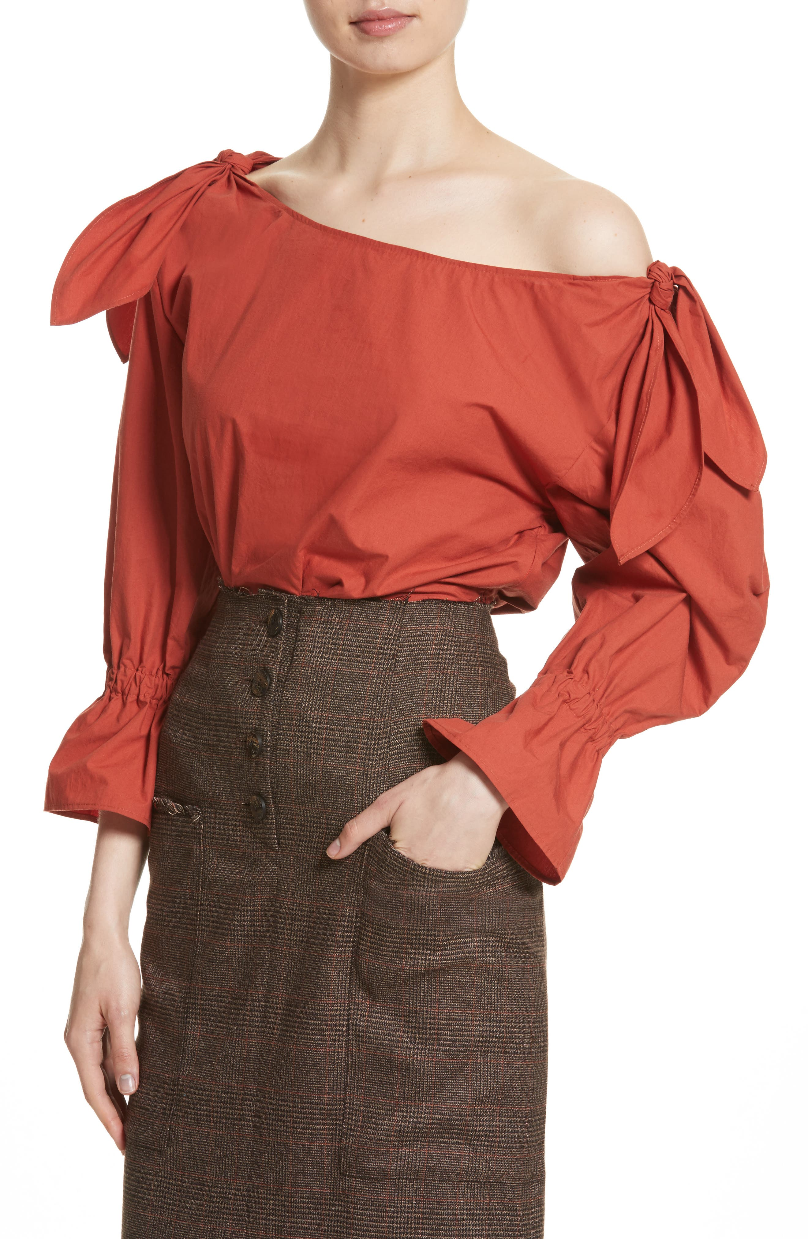 Michelle One-Shoulder Puff Sleeve Blouse,                             Alternate thumbnail 4, color,                             Rust