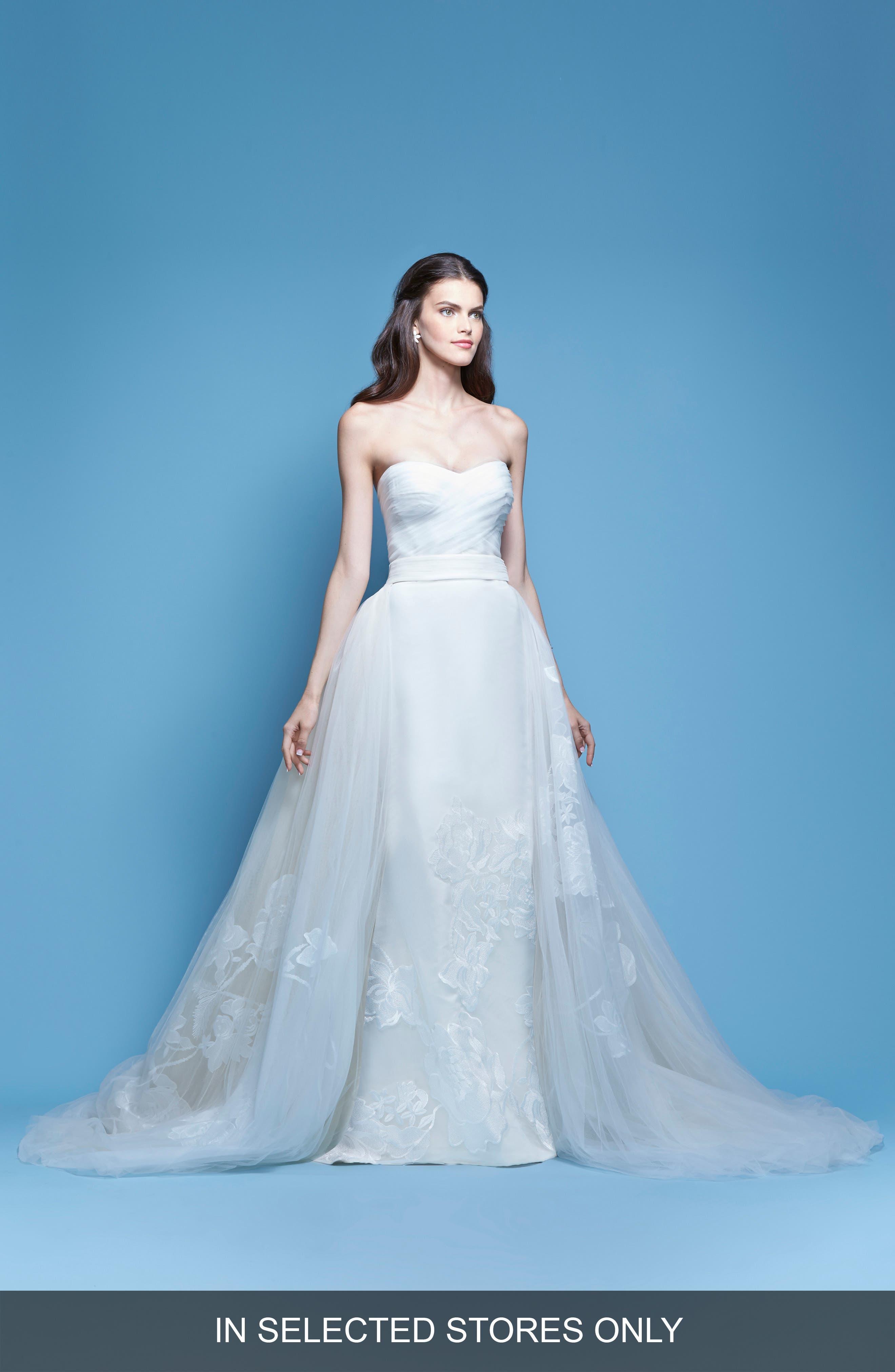 Carolina Herrera Josefina Strapless Silk Faille Mermaid Gown with Detachable Tulle Overlay Skirt