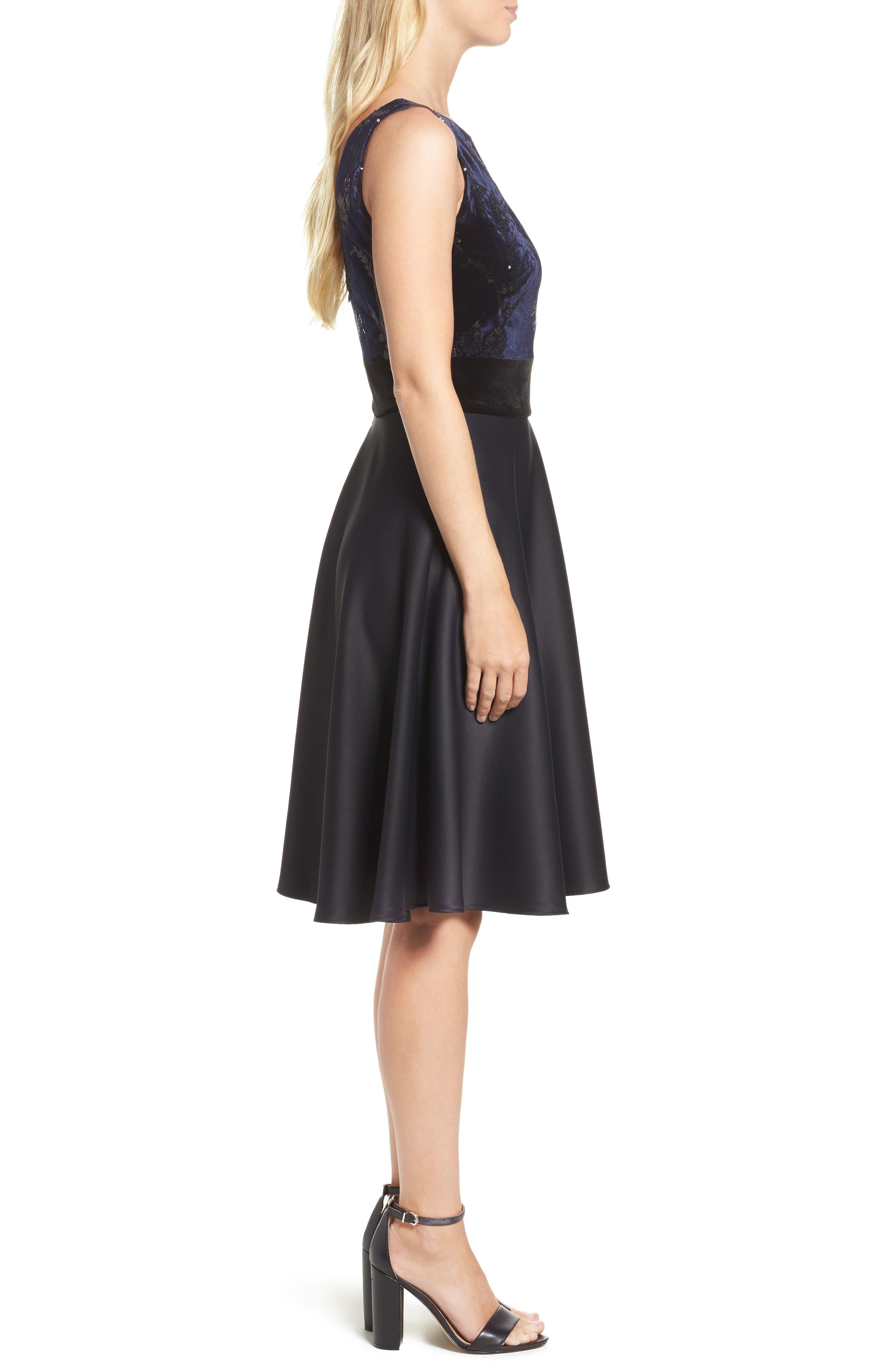Fit & Flare Dress,                             Alternate thumbnail 3, color,                             Navy Black