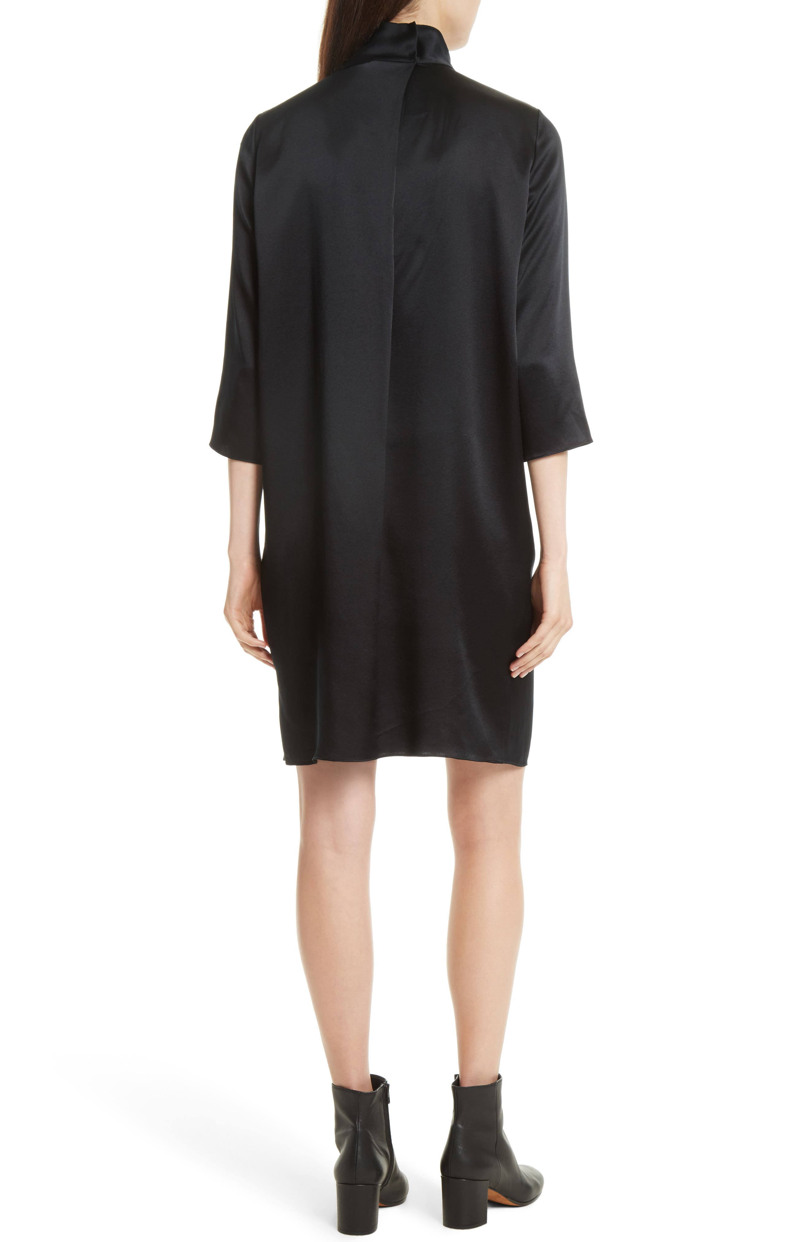 Mock Neck Silk Shift Dress,                             Alternate thumbnail 2, color,                             Black