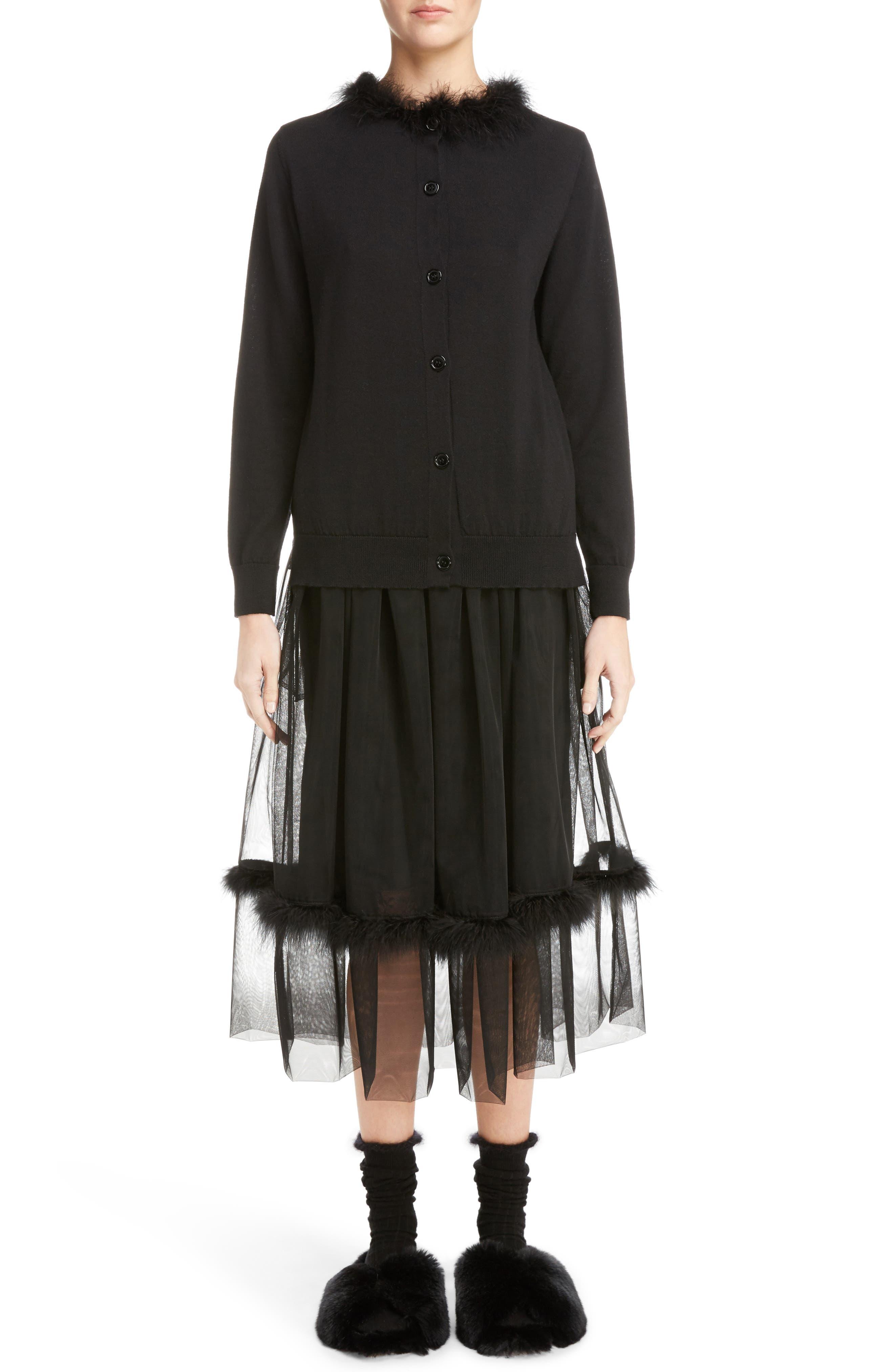 Marabou Trim Smock Waist Tulle Skirt,                             Alternate thumbnail 6, color,                             Black
