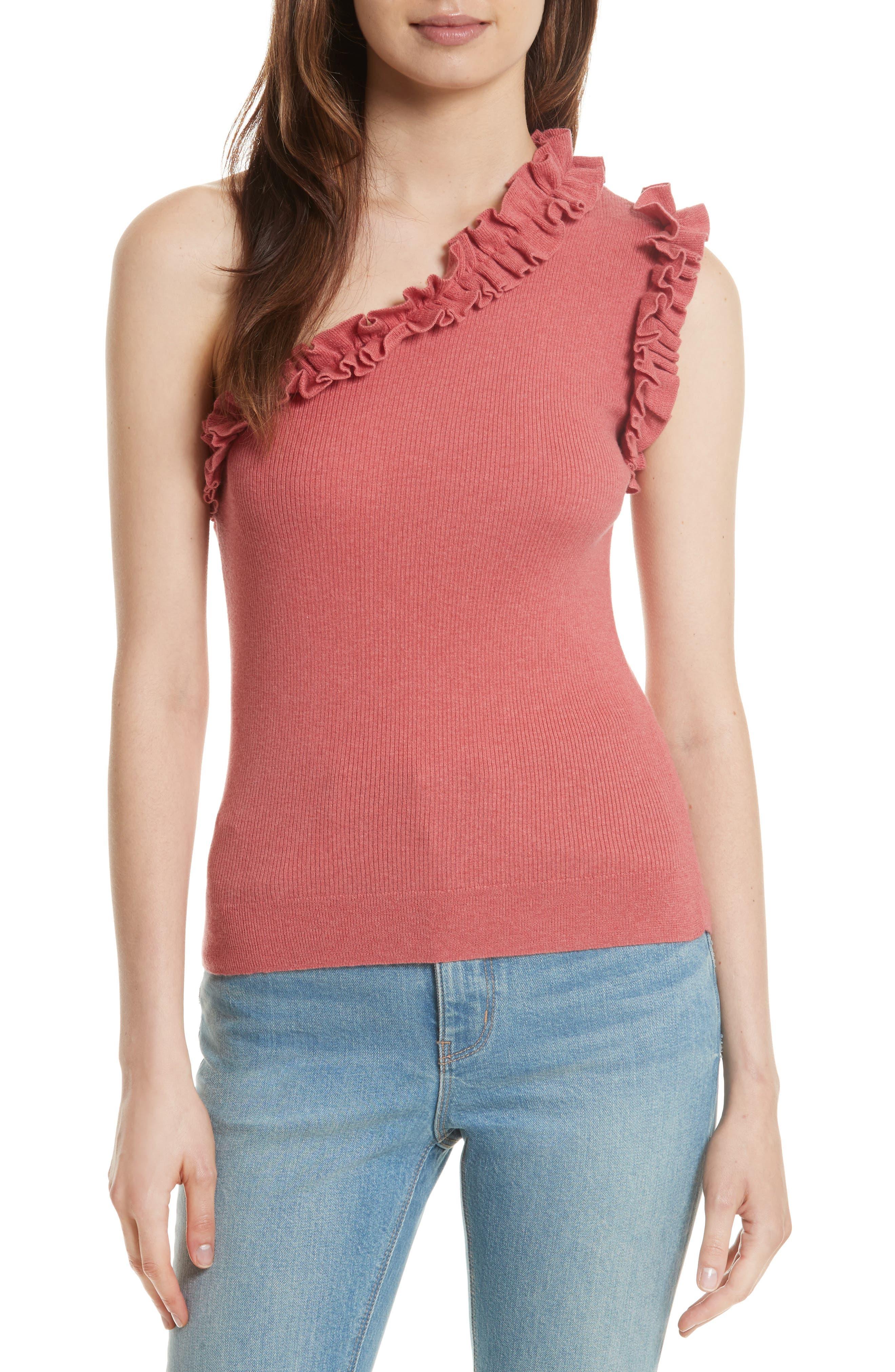 La Vie Rebecca Taylor Ruffle One-Shoulder Top