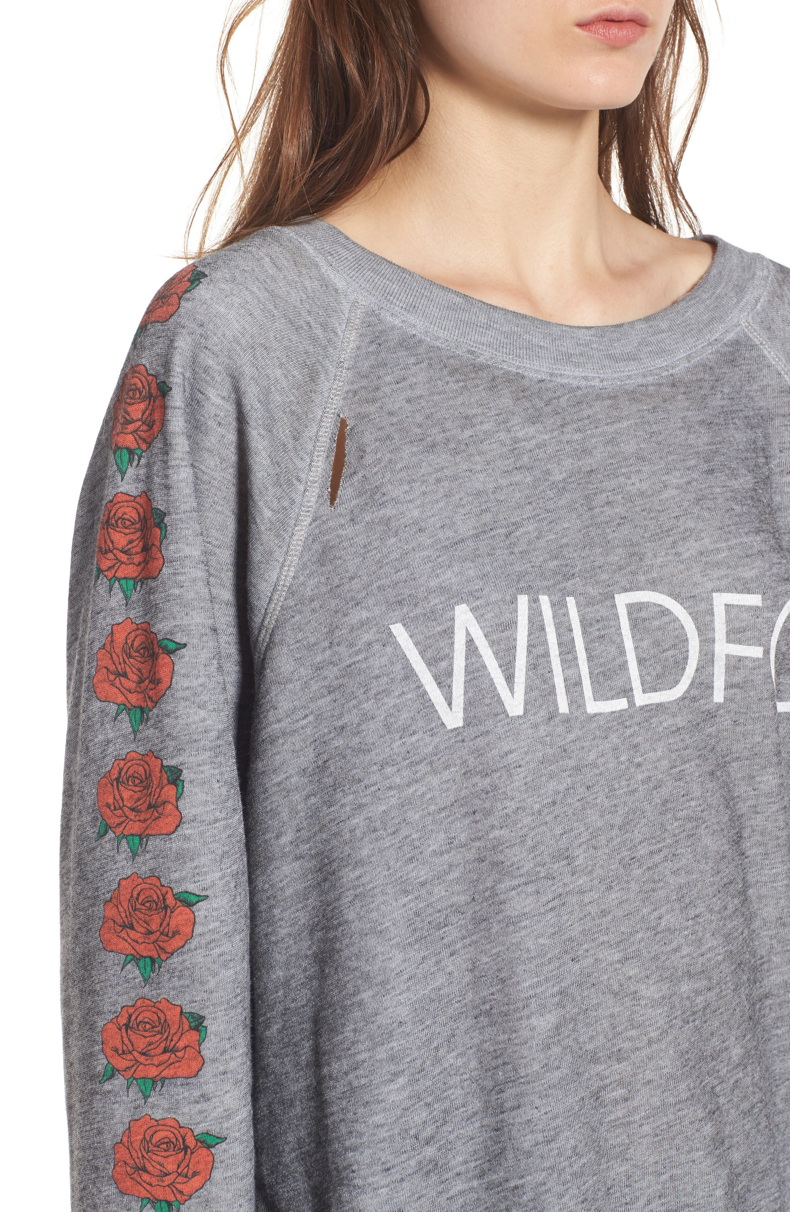 Alternate Image 4  - Wildfox Bouquet Thrashed Sweatshirt