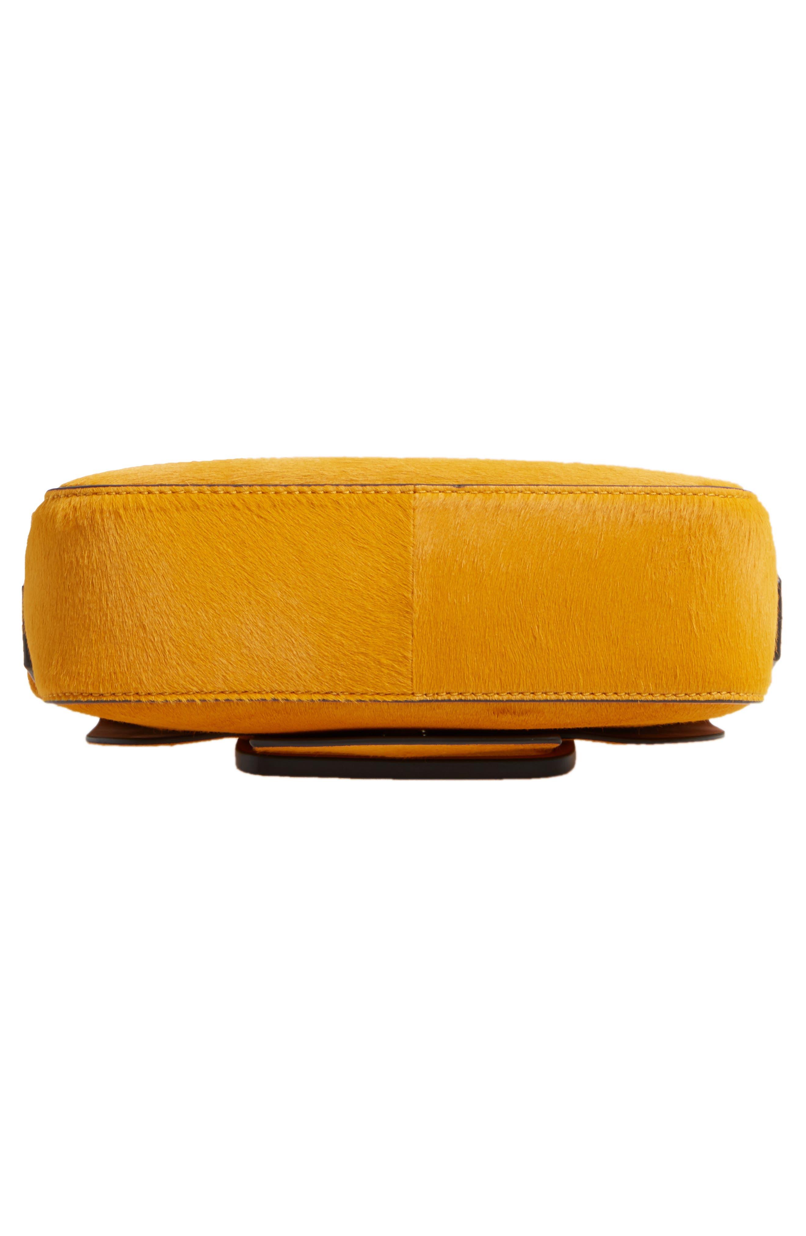 Small Sawyer Genuine Calf Hair Shoulder Bag,                             Alternate thumbnail 5, color,                             Curry