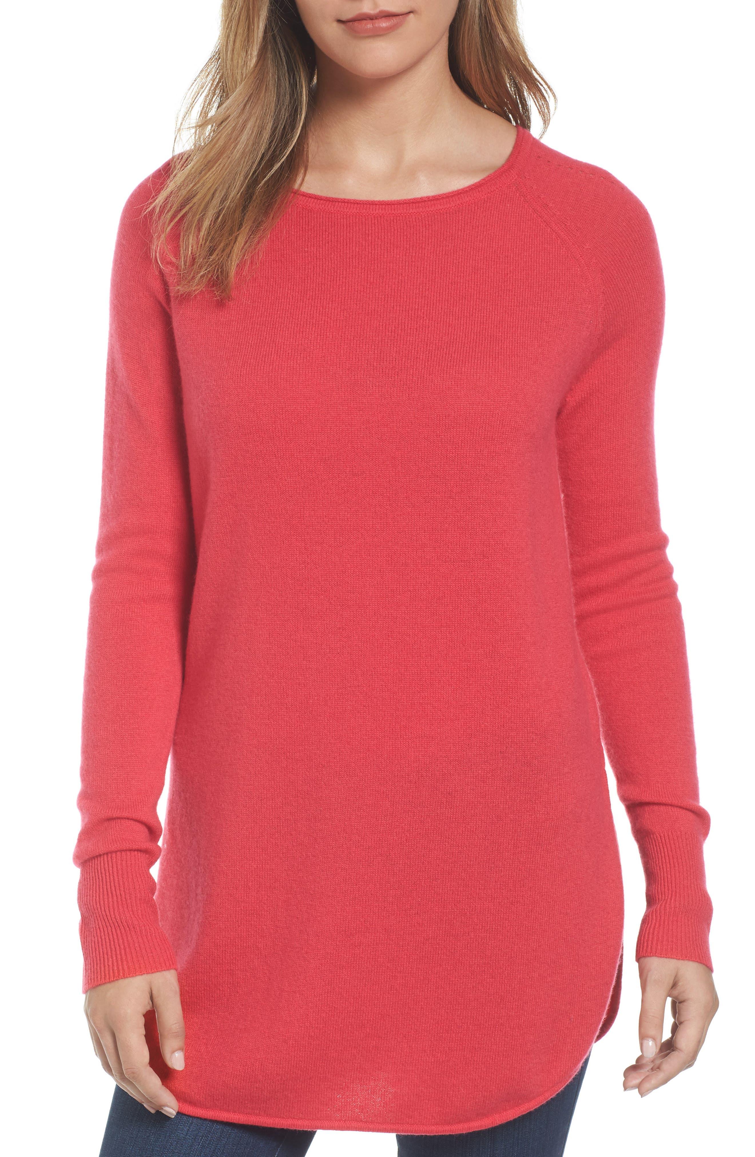 Halogen® Shirttail Wool & Cashmere Boatneck Tunic (Regular & Petite)
