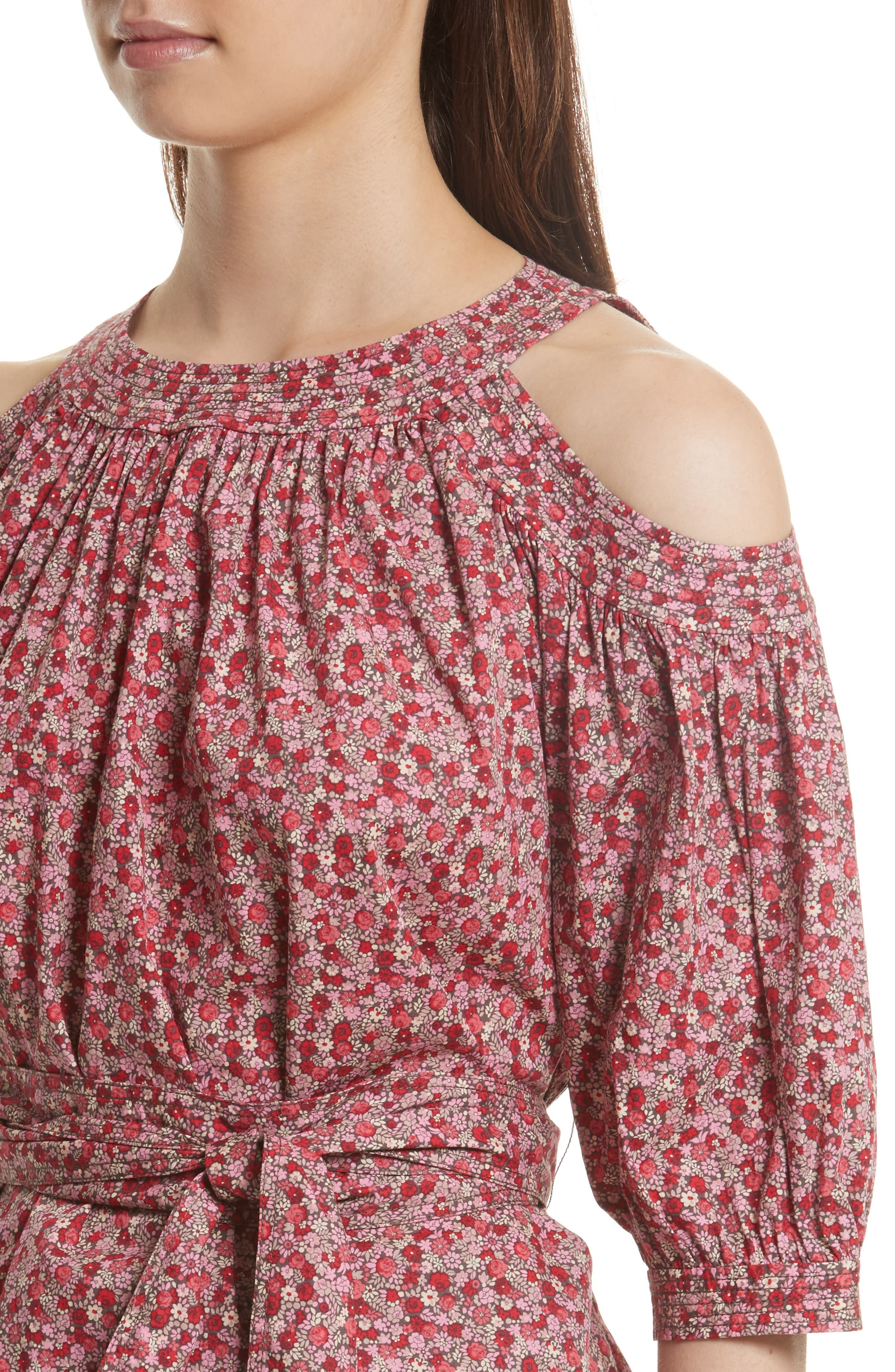 Alternate Image 4  - La Vie Rebecca Taylor Petite Rose Cold Shoulder Top