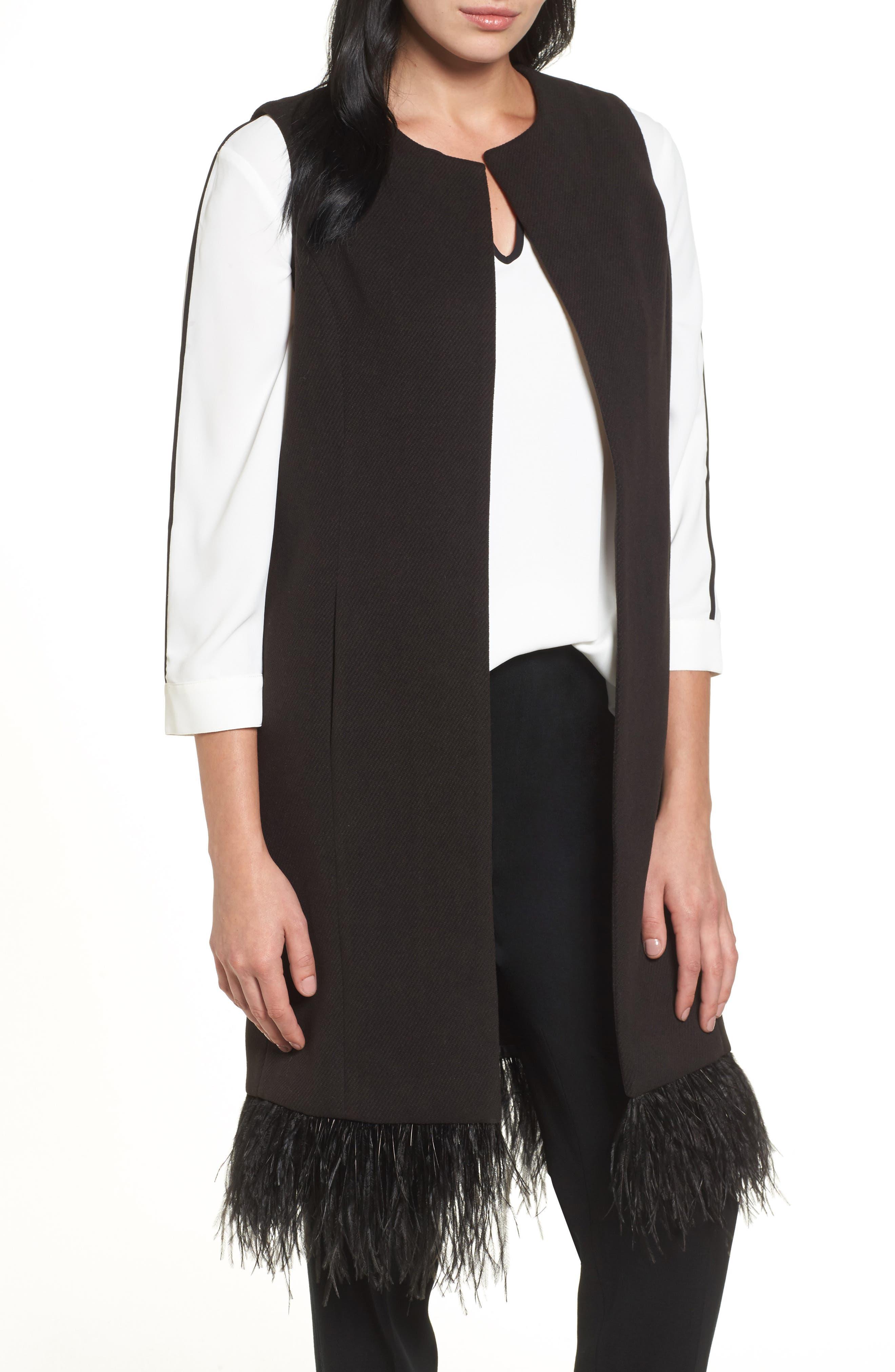 Faux Feather Trim Long Vest,                             Main thumbnail 1, color,                             Black