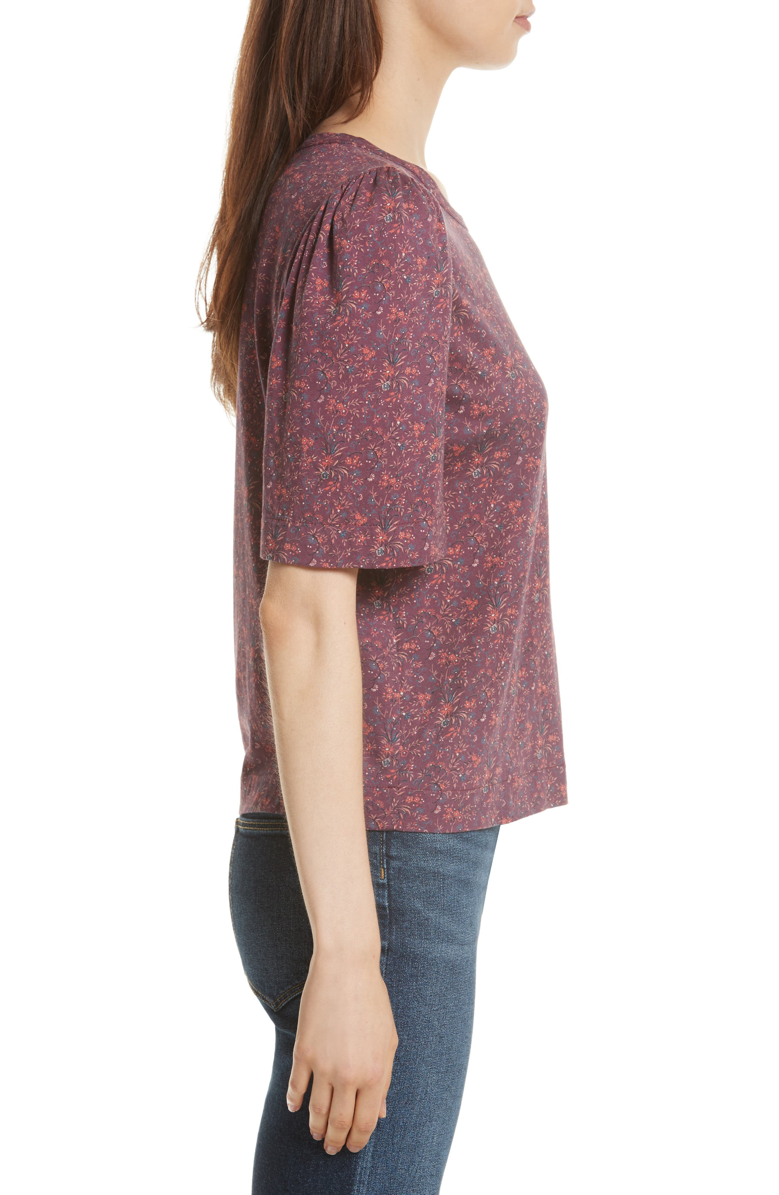 Rebecca Taylor Brittany Floral Jersey Top,                             Alternate thumbnail 3, color,                             Plum Combo