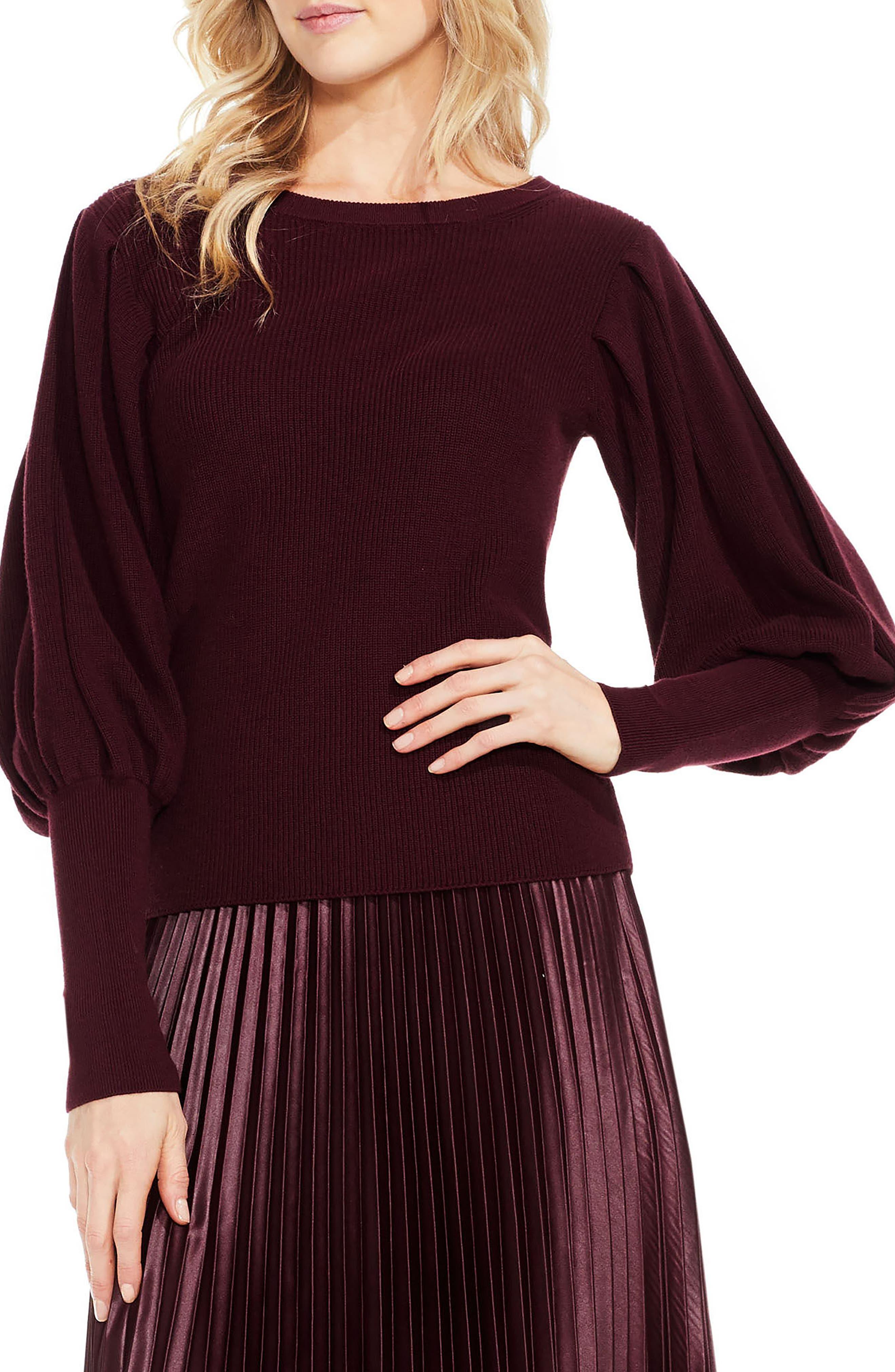 Bubble Sleeve Sweater,                         Main,                         color, Deep Claret