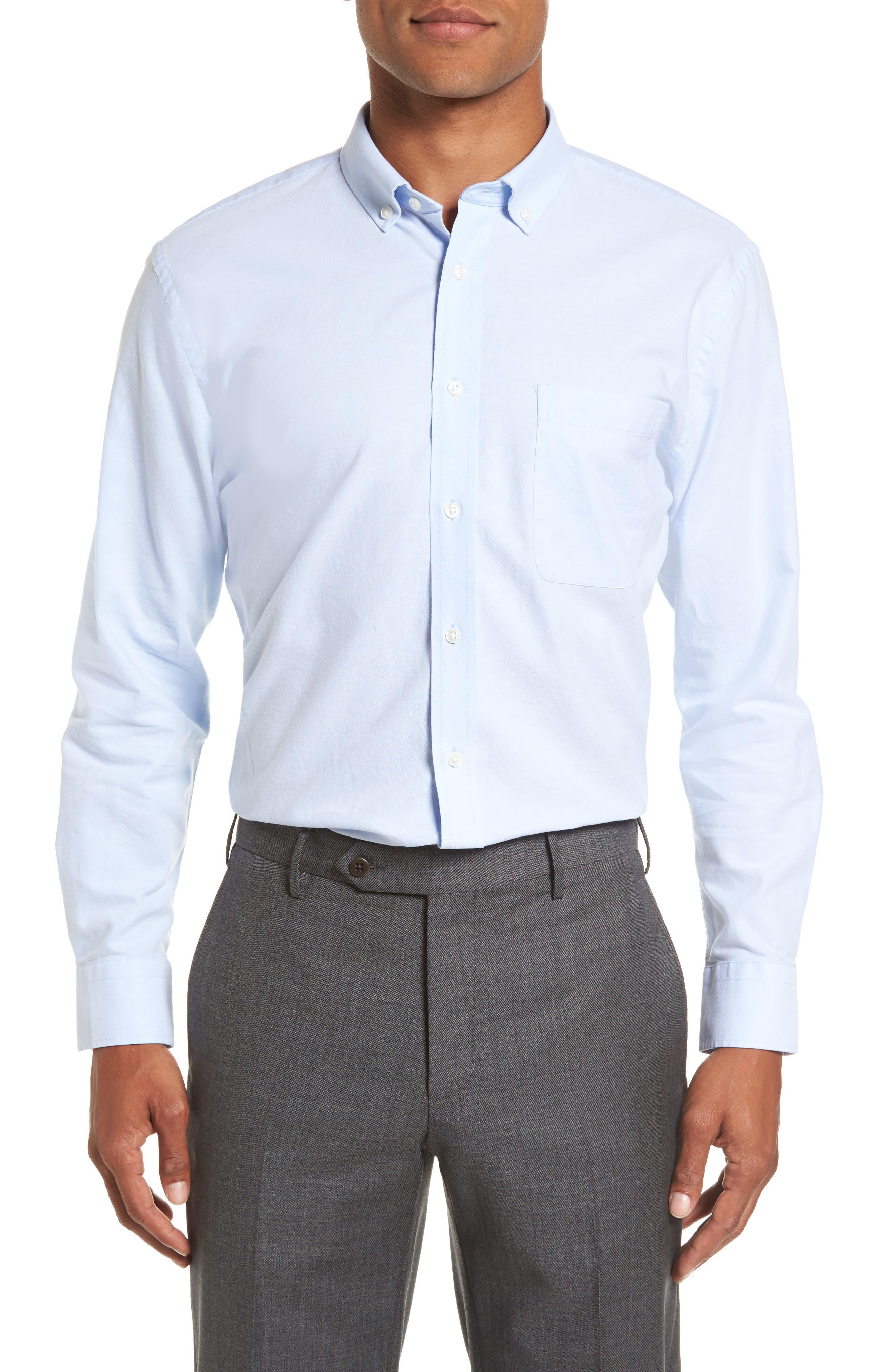 Trim Fit Solid Oxford Dress Shirt,                             Alternate thumbnail 2, color,                             Blue Grapemist