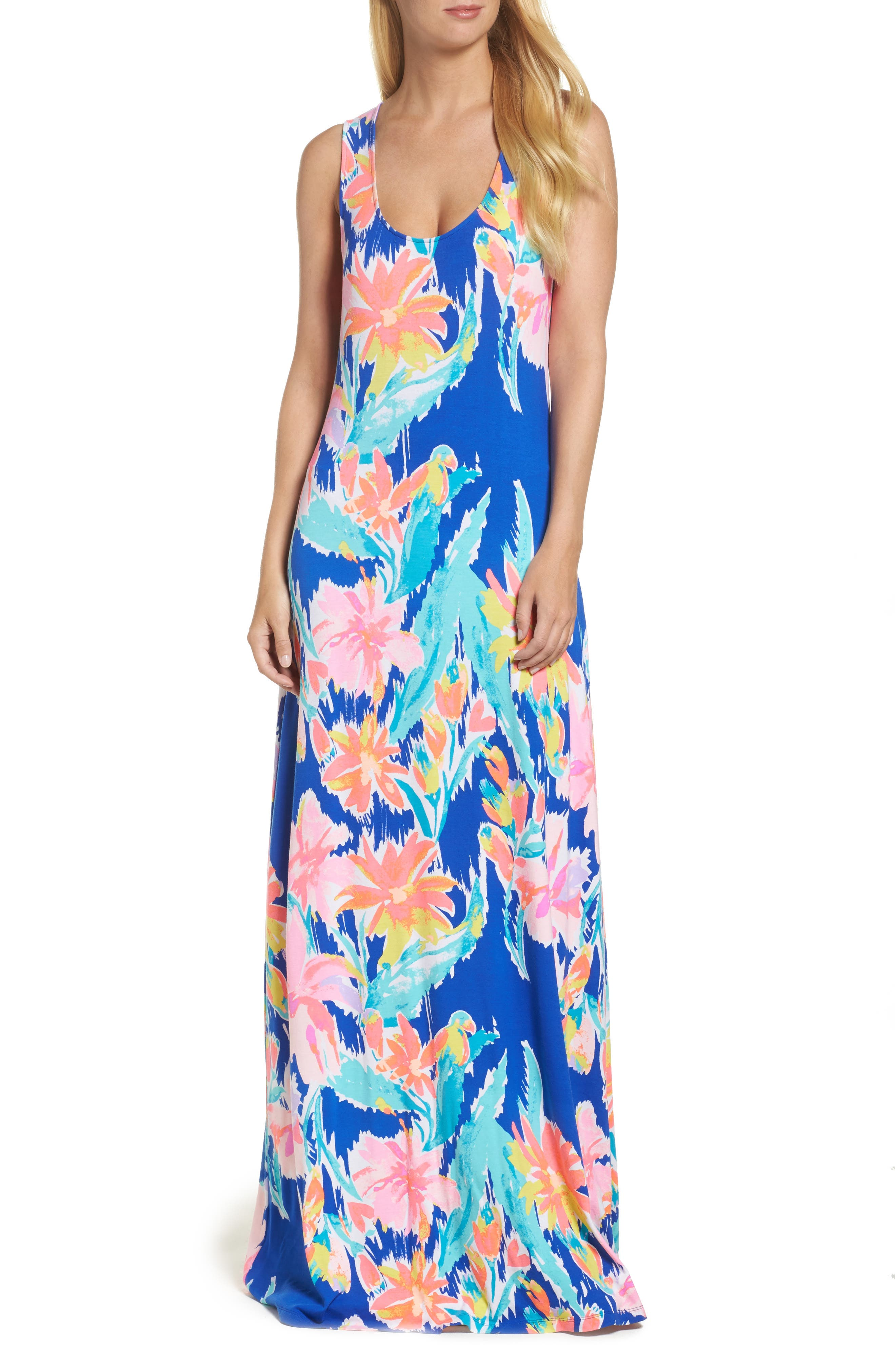 Natalia Maxi Dress,                         Main,                         color, Blue Current