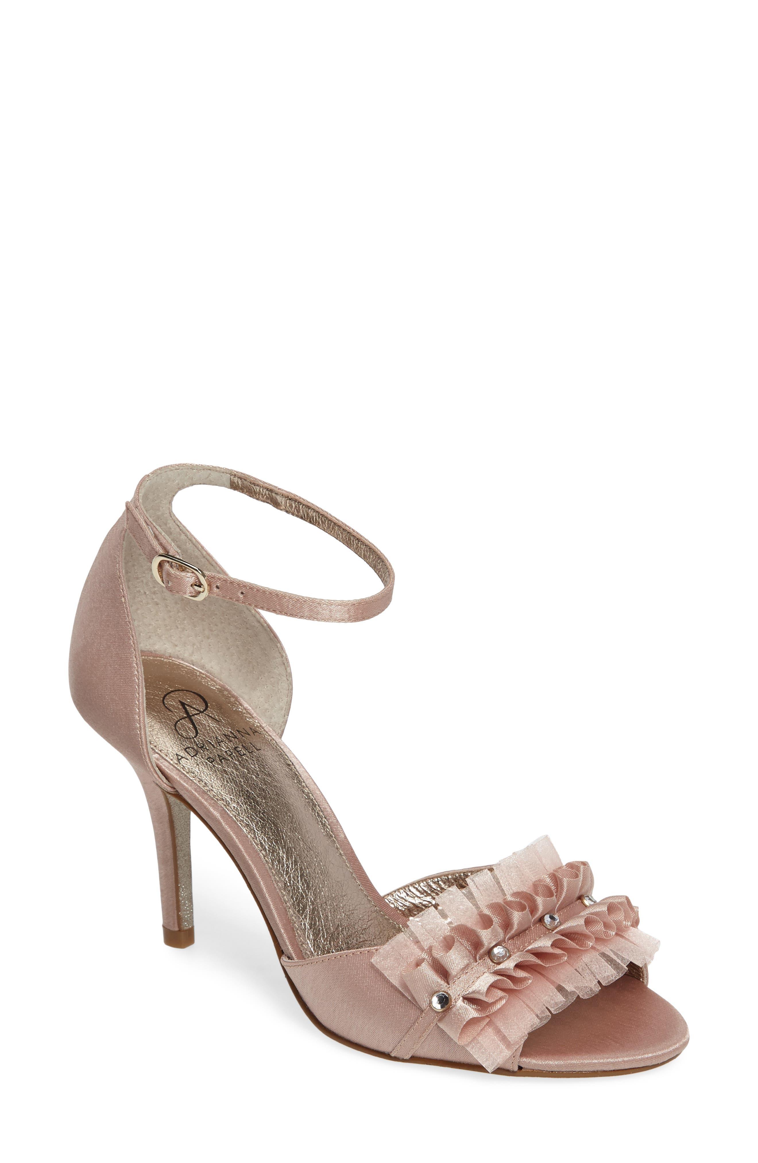 Alcott Chiffon Ruffle Sandal,                         Main,                         color, Blush Classic Satin