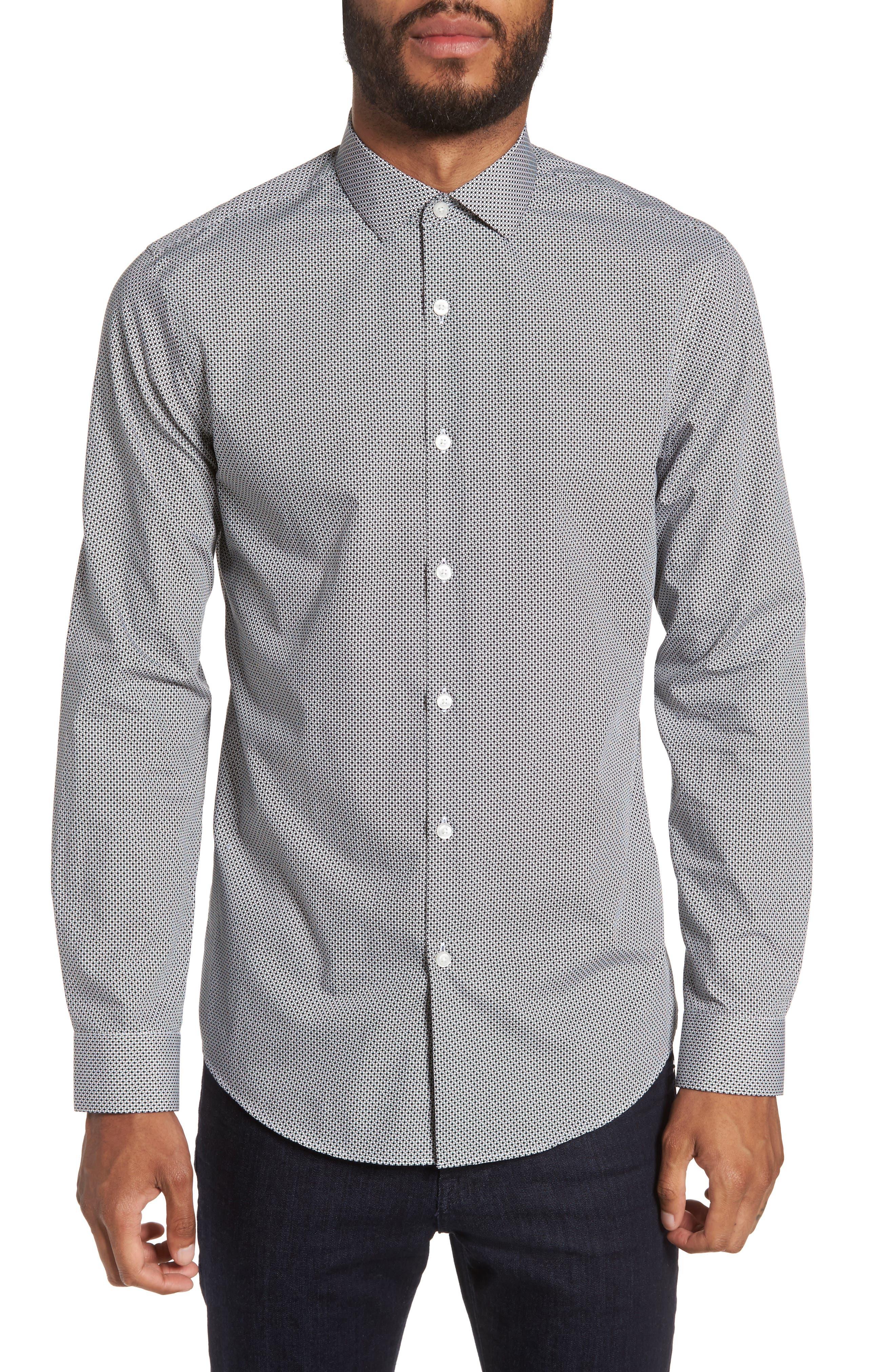 Dot Print Sport Shirt,                             Main thumbnail 1, color,                             White Black Mini Circle Print
