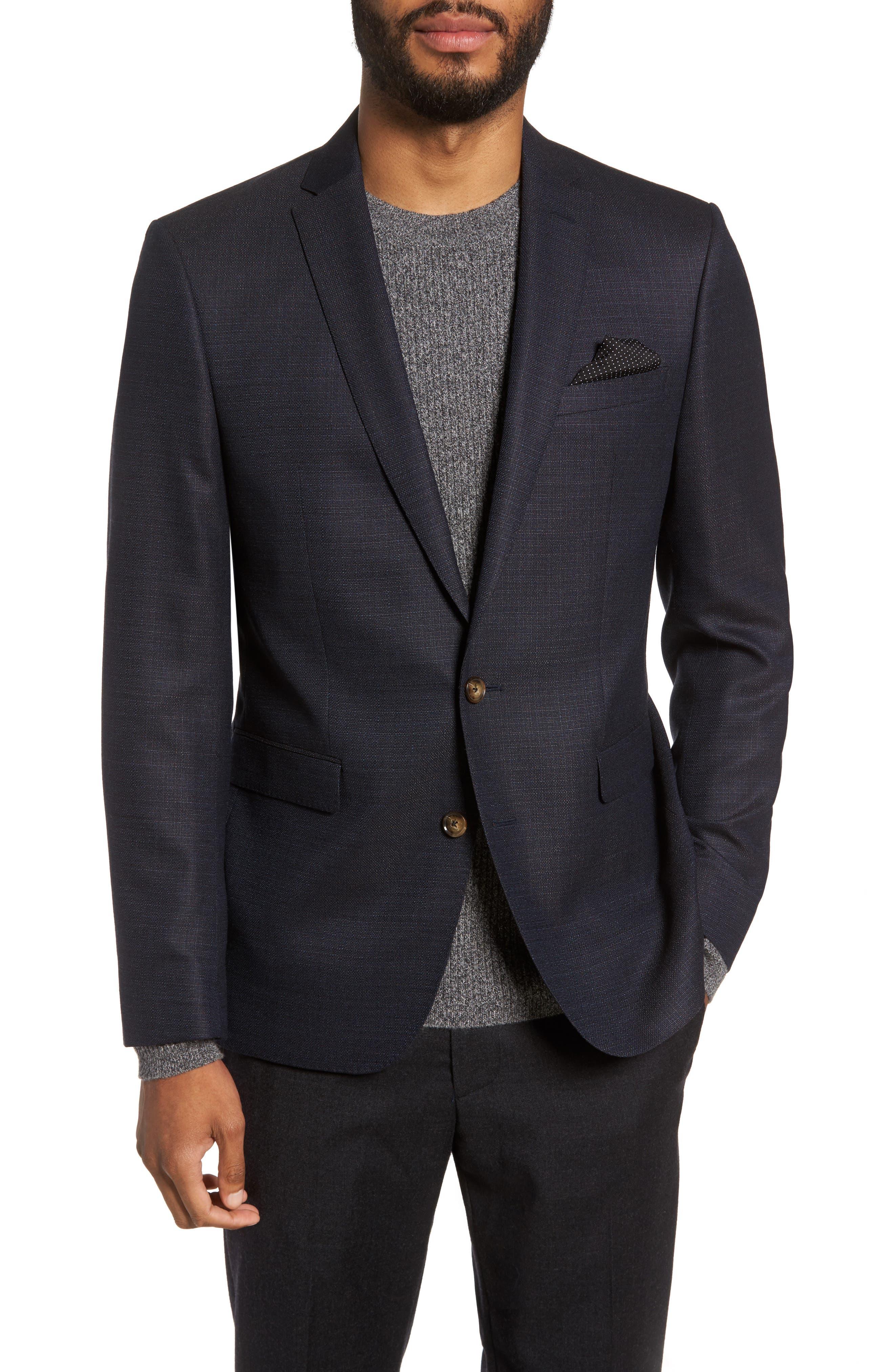 Trim Fit Hopsack Wool Blazer,                         Main,                         color, Brown