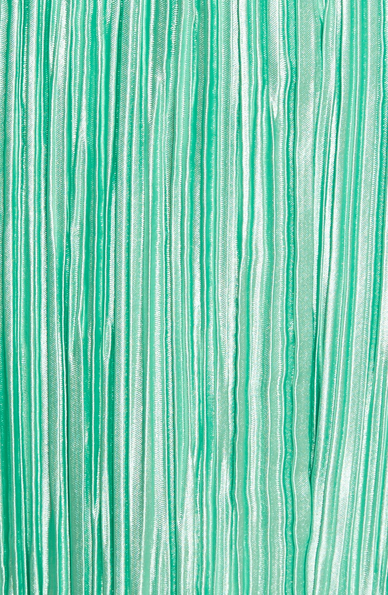 Plissé Pleated Midi Skirt,                             Alternate thumbnail 5, color,                             Kelly Green