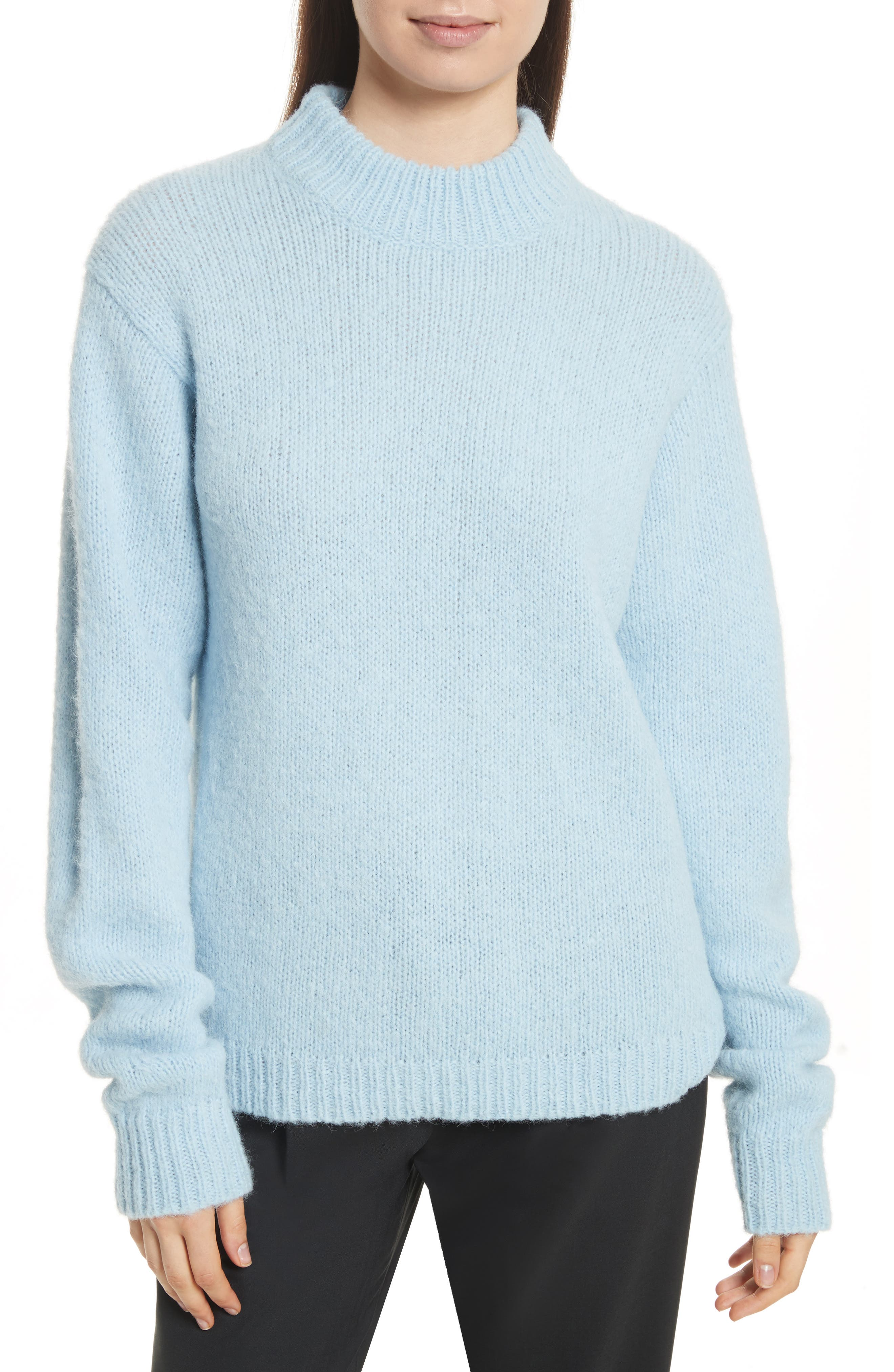 Cozette Easy Mock Neck Pullover,                         Main,                         color, Baby Blue