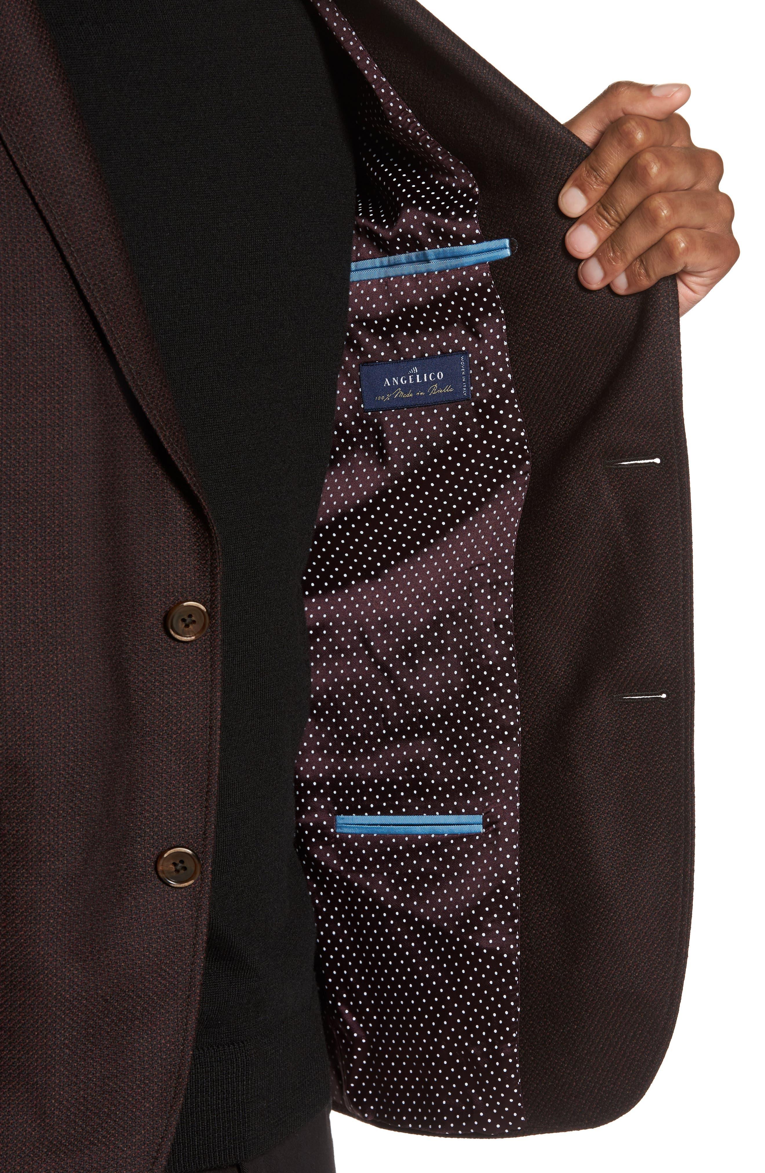 Trim Fit Wool Sport Coat,                             Alternate thumbnail 4, color,                             Bordeaux