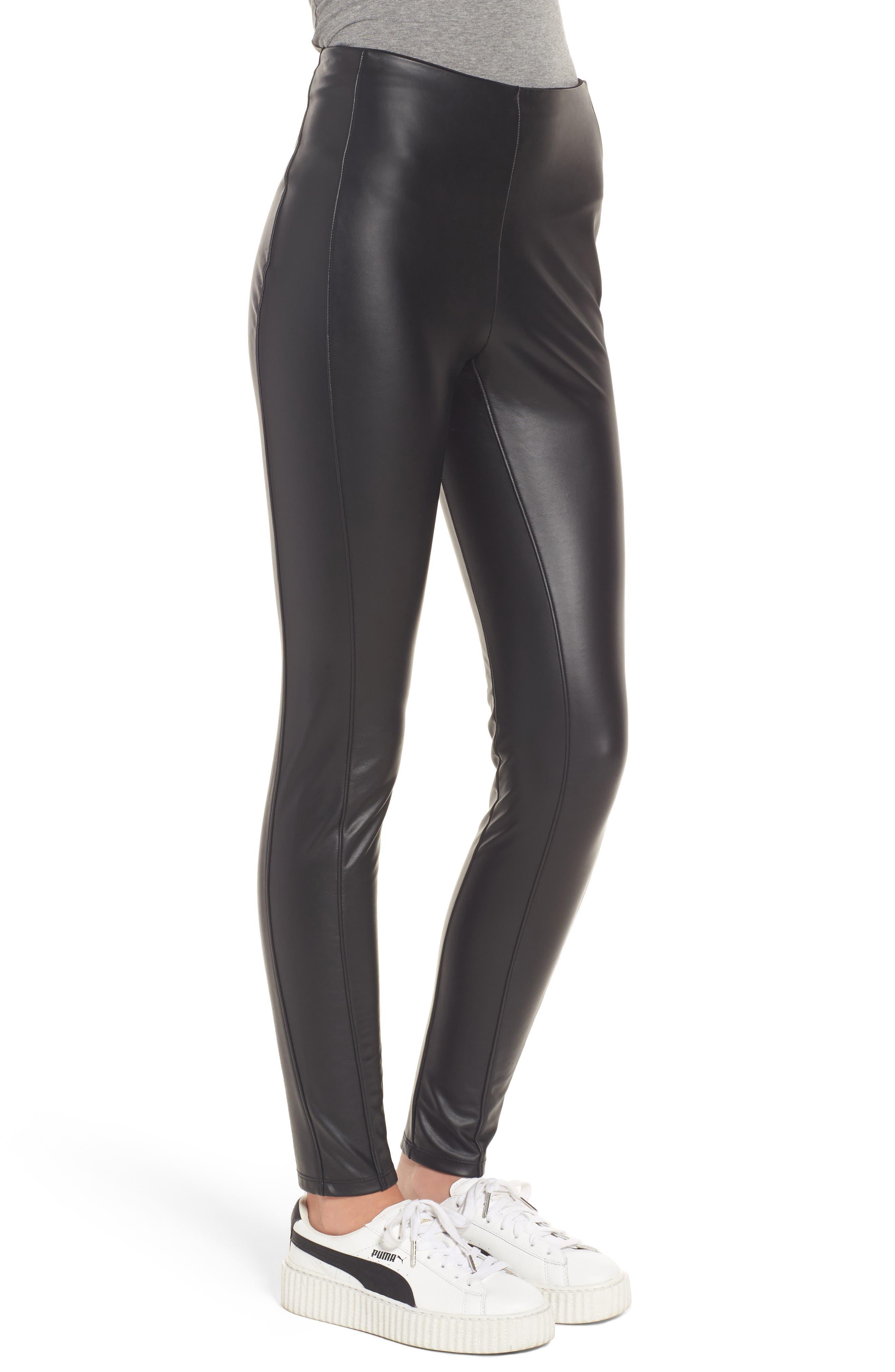 Bryce High Waist Faux Leather Leggings,                             Alternate thumbnail 3, color,                             Black