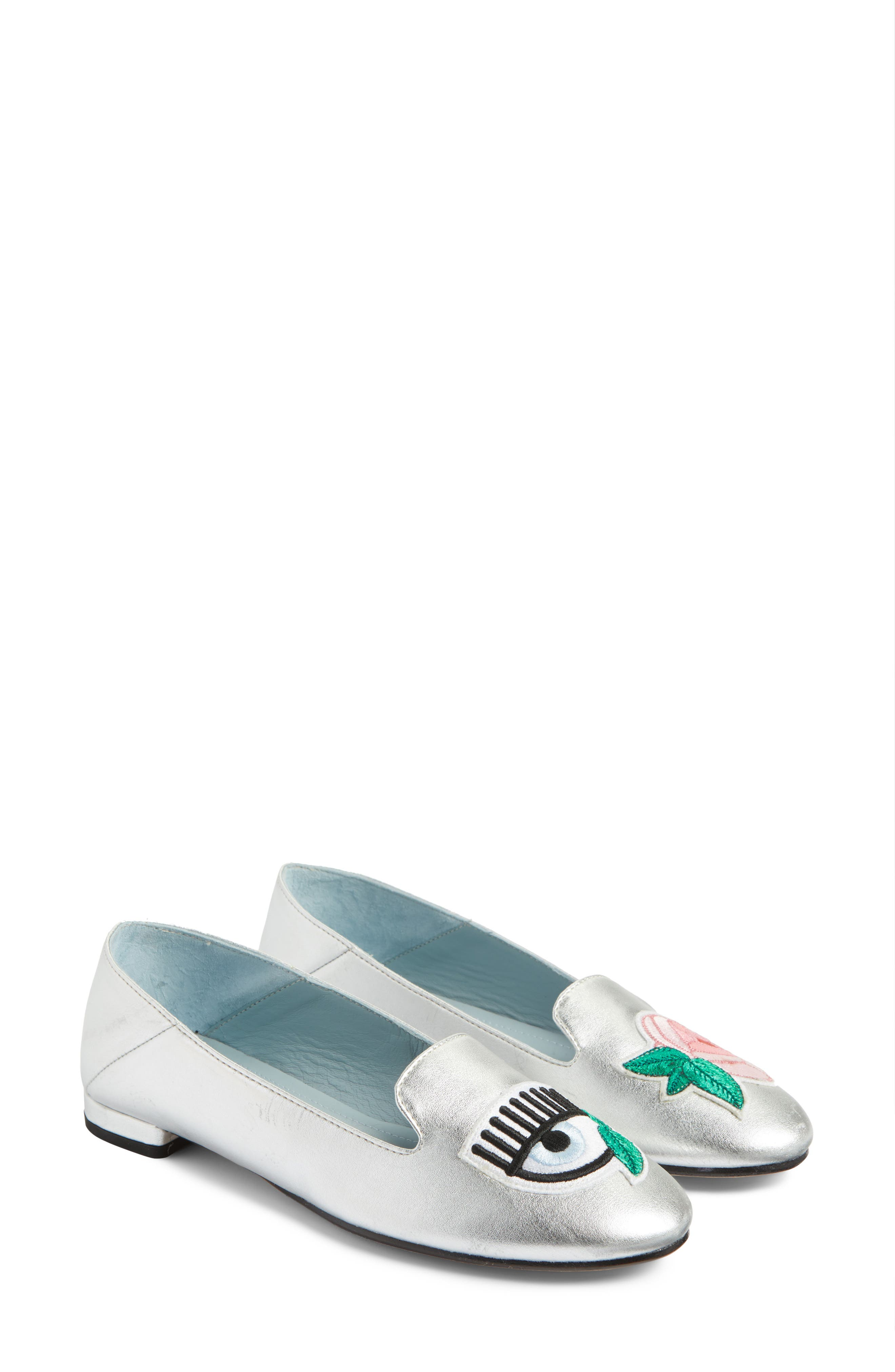 Flower Power Convertible Loafer Flat,                             Alternate thumbnail 2, color,                             Silver